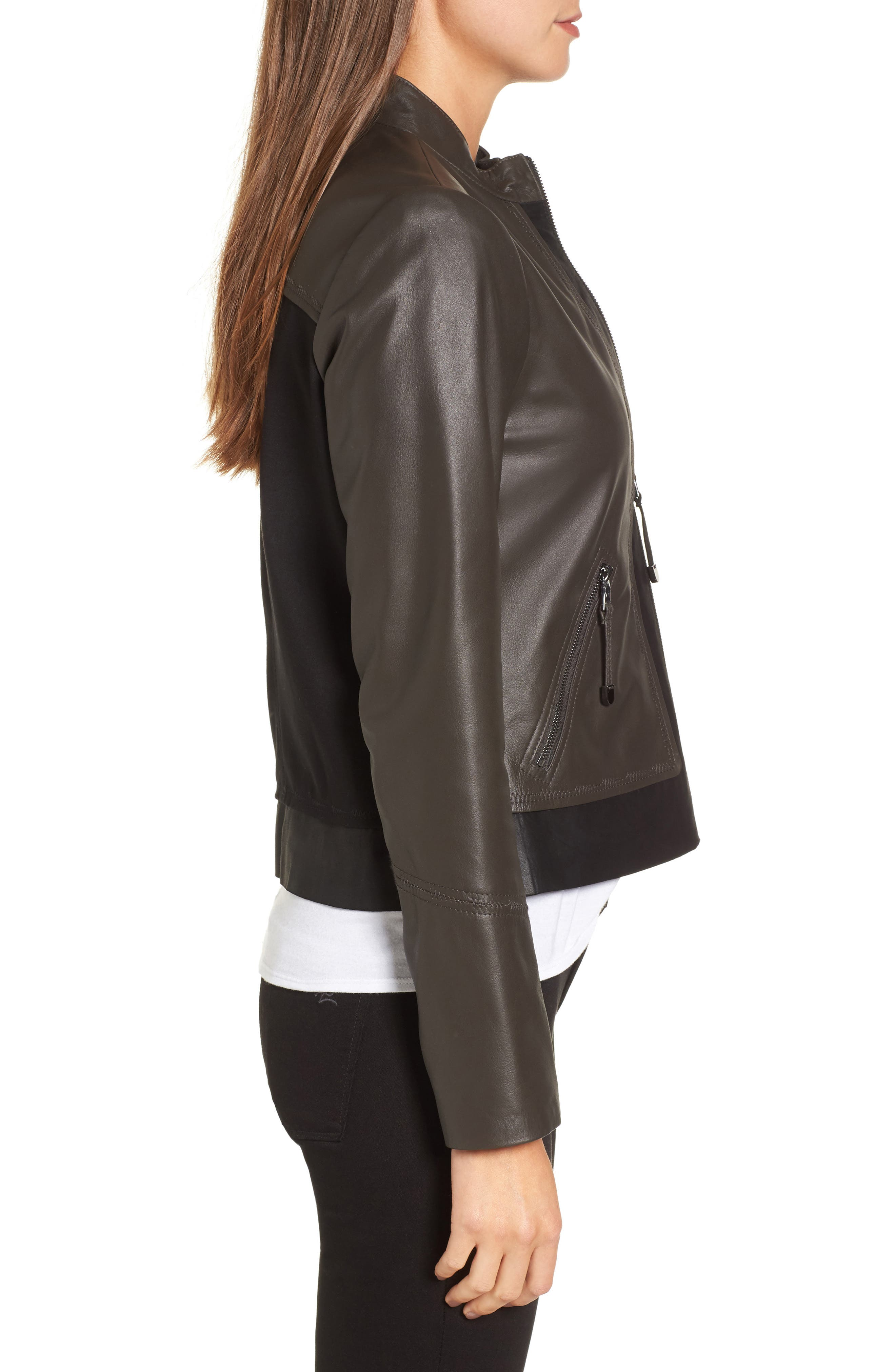 Alternate Image 3  - Via Spiga Colorblock Leather Jacket