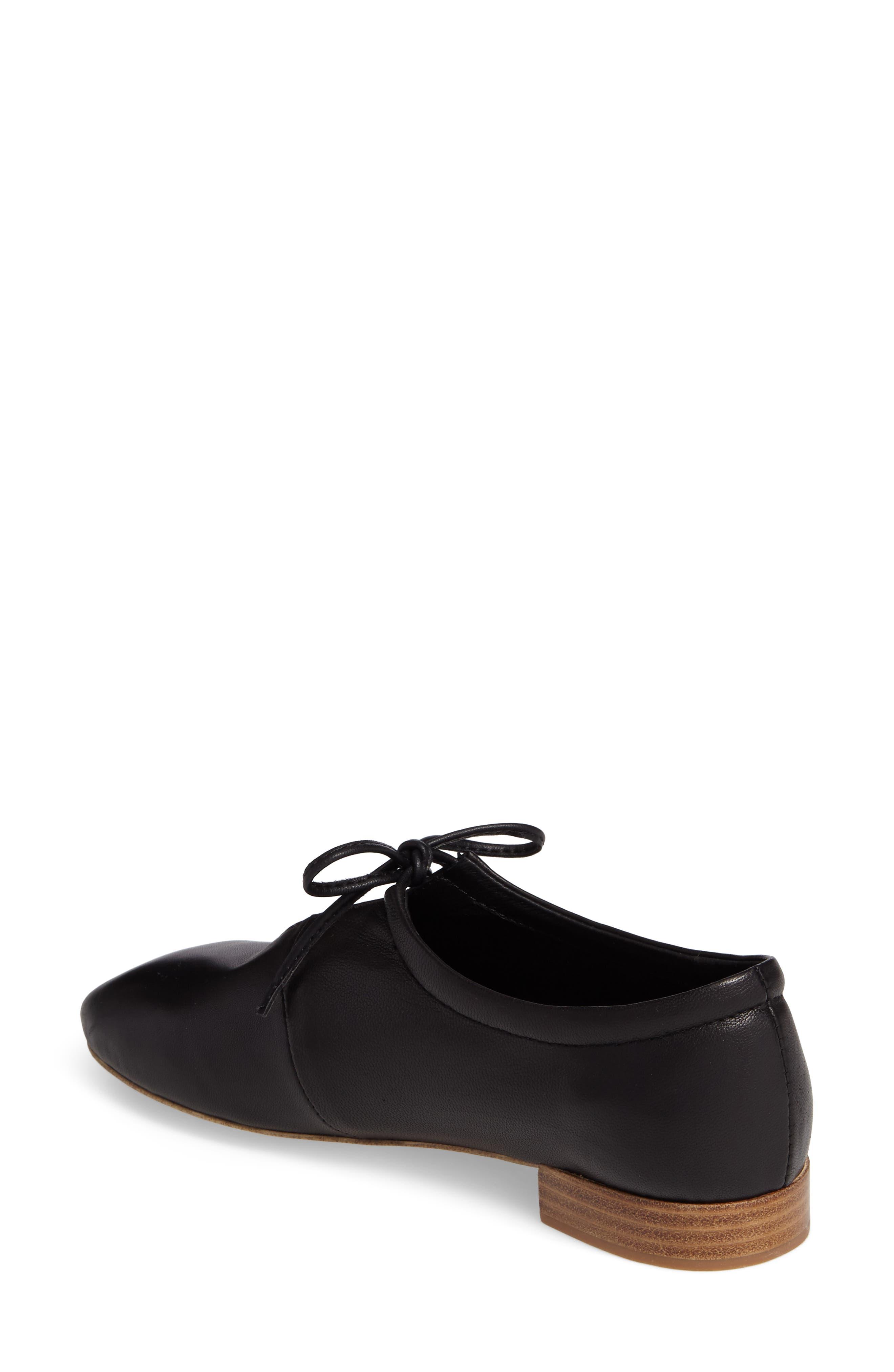 Prieto V-Cut Flat,                             Alternate thumbnail 2, color,                             Black Leather