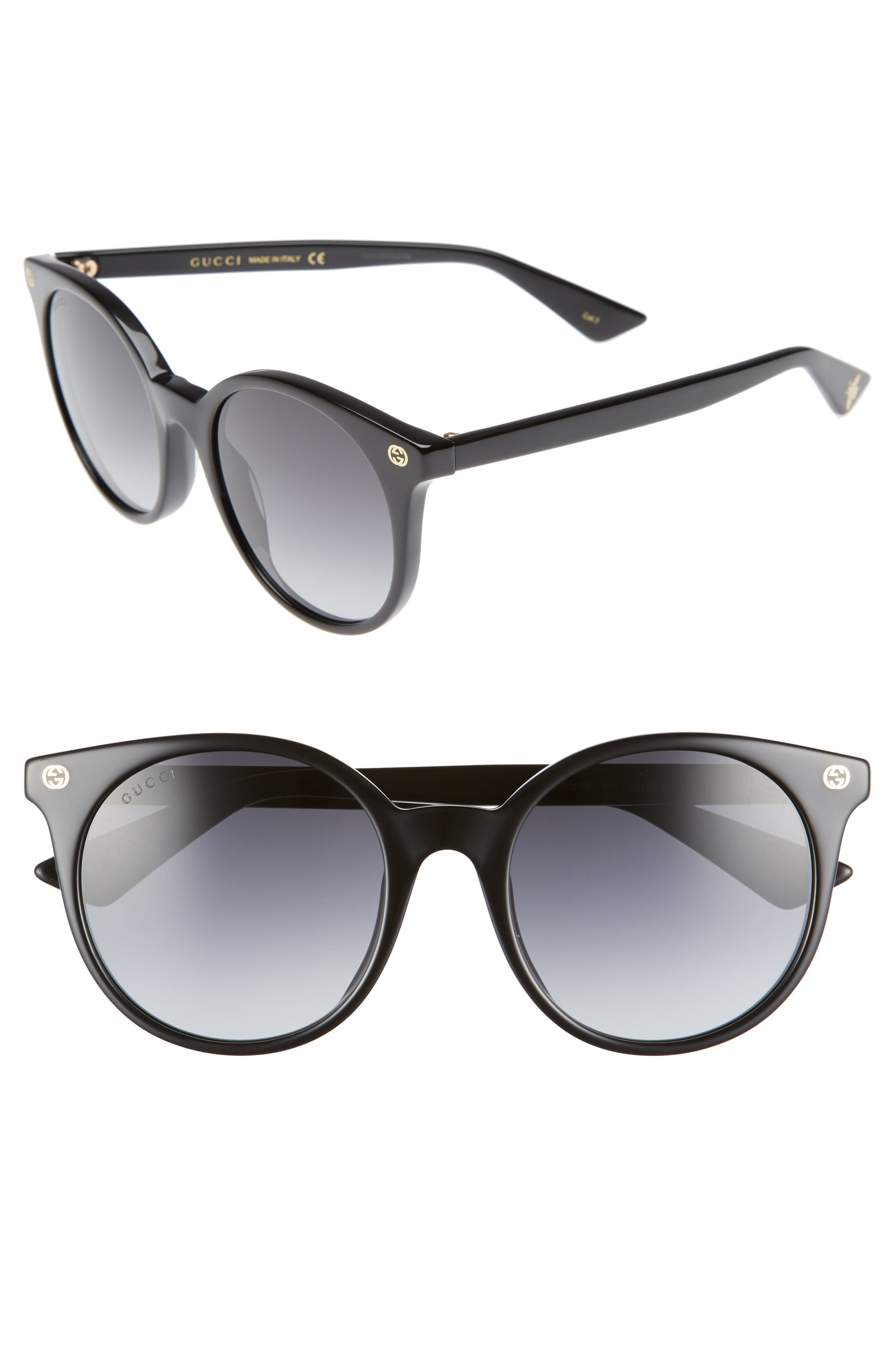 52mm Round Sunglasses,                         Main,                         color, Black/ Grey