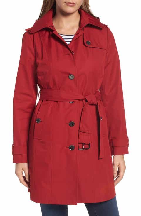 MICHAEL Michael Kors Core Trench Coat with Removable Hood & Liner (Regular  ... - Women's Red Wool Coats Nordstrom Nordstrom