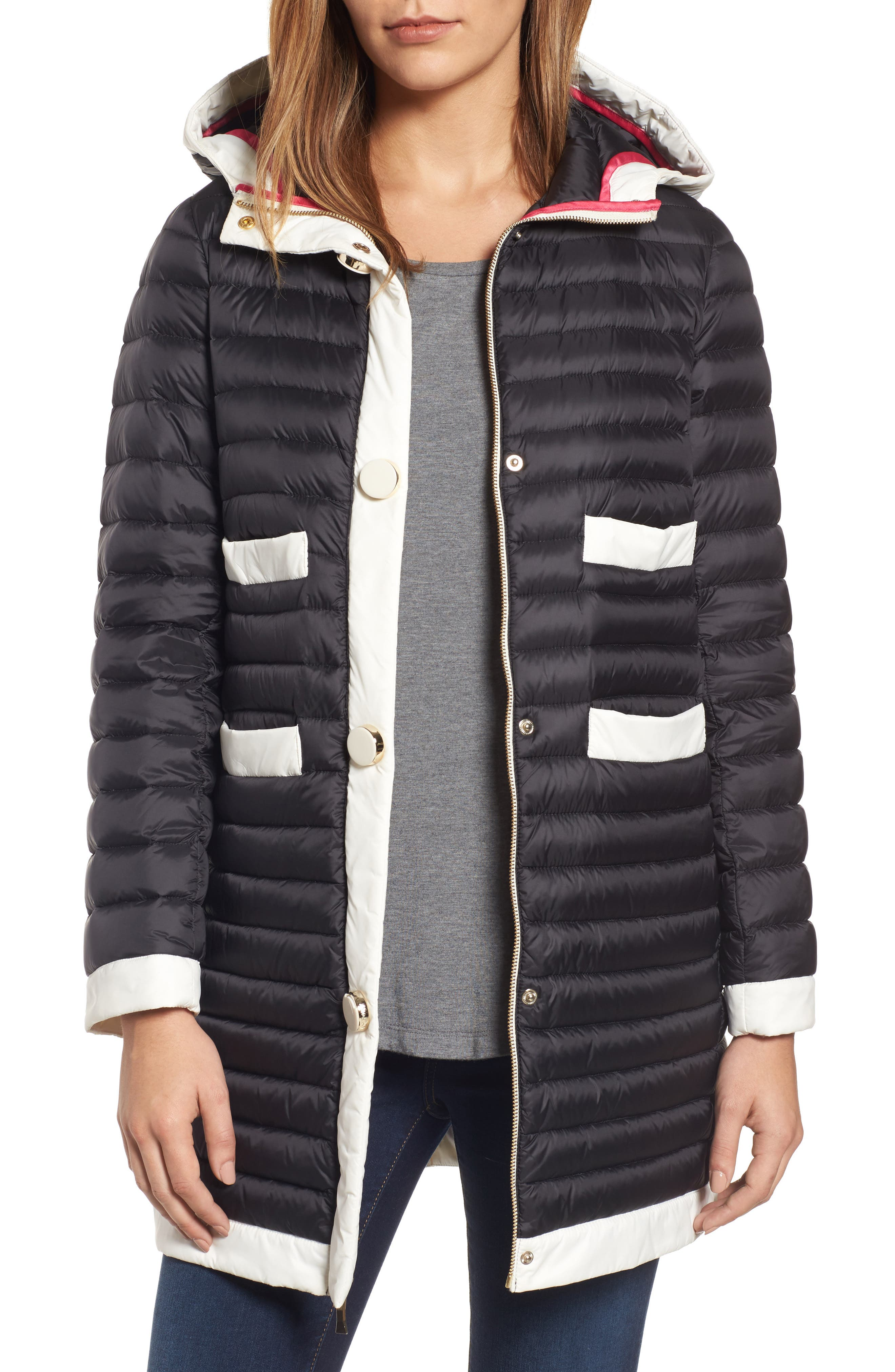 kate spade new york contrast trim hooded puffer coat