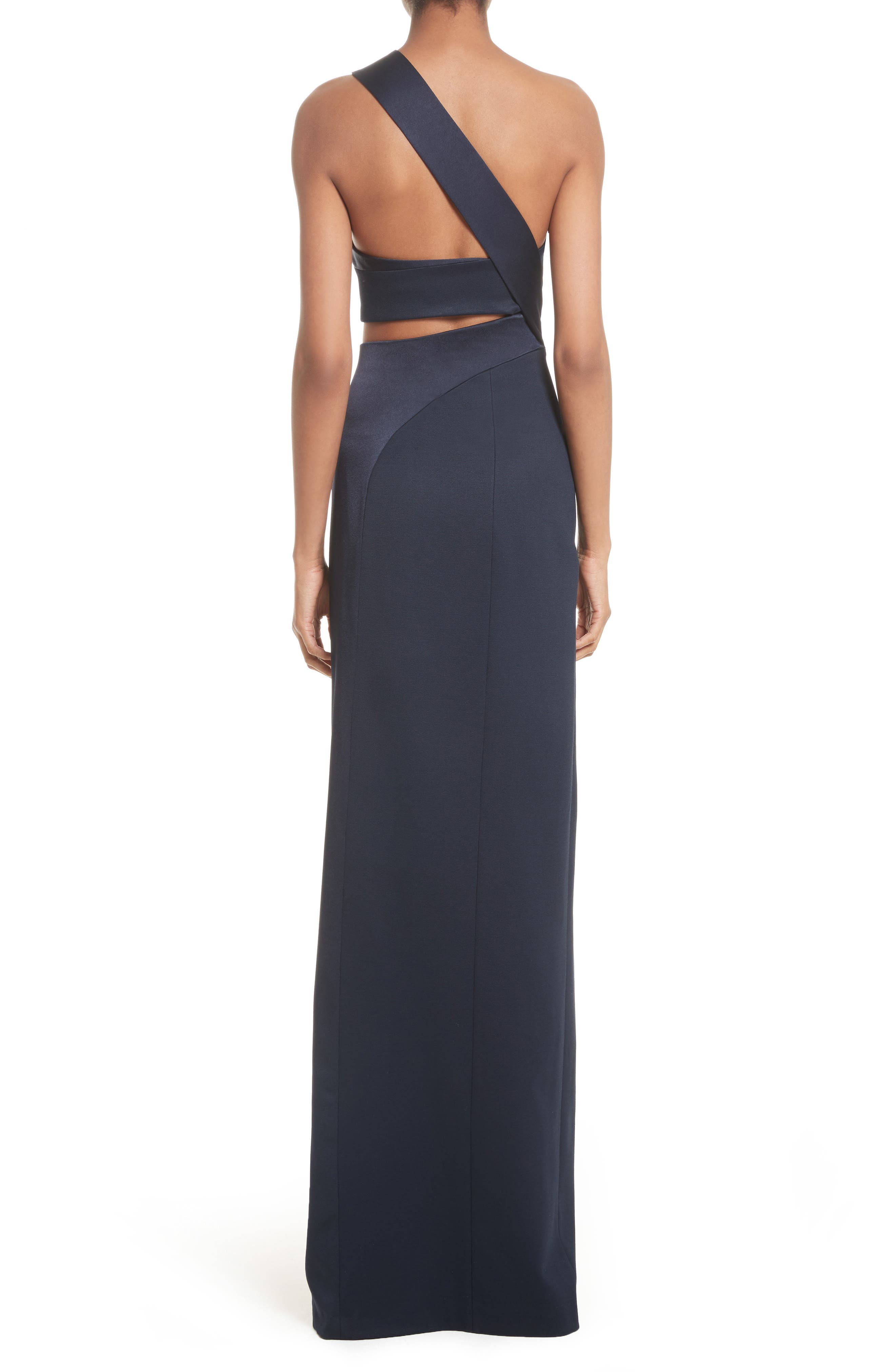 Cutout One-Shoulder Gown,                             Alternate thumbnail 2, color,                             Midnight