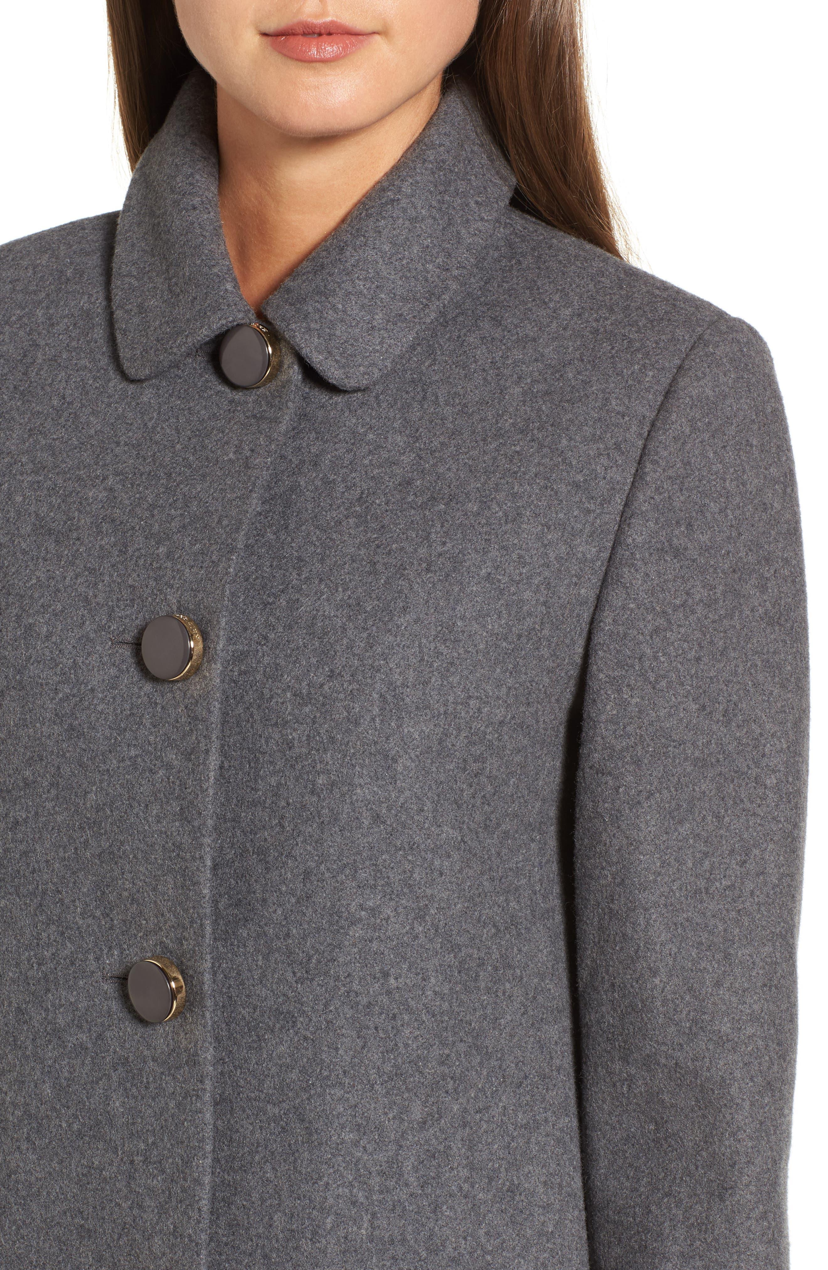 drop waist wool blend flounce coat,                             Alternate thumbnail 4, color,                             Soft Grey/ Light Grey