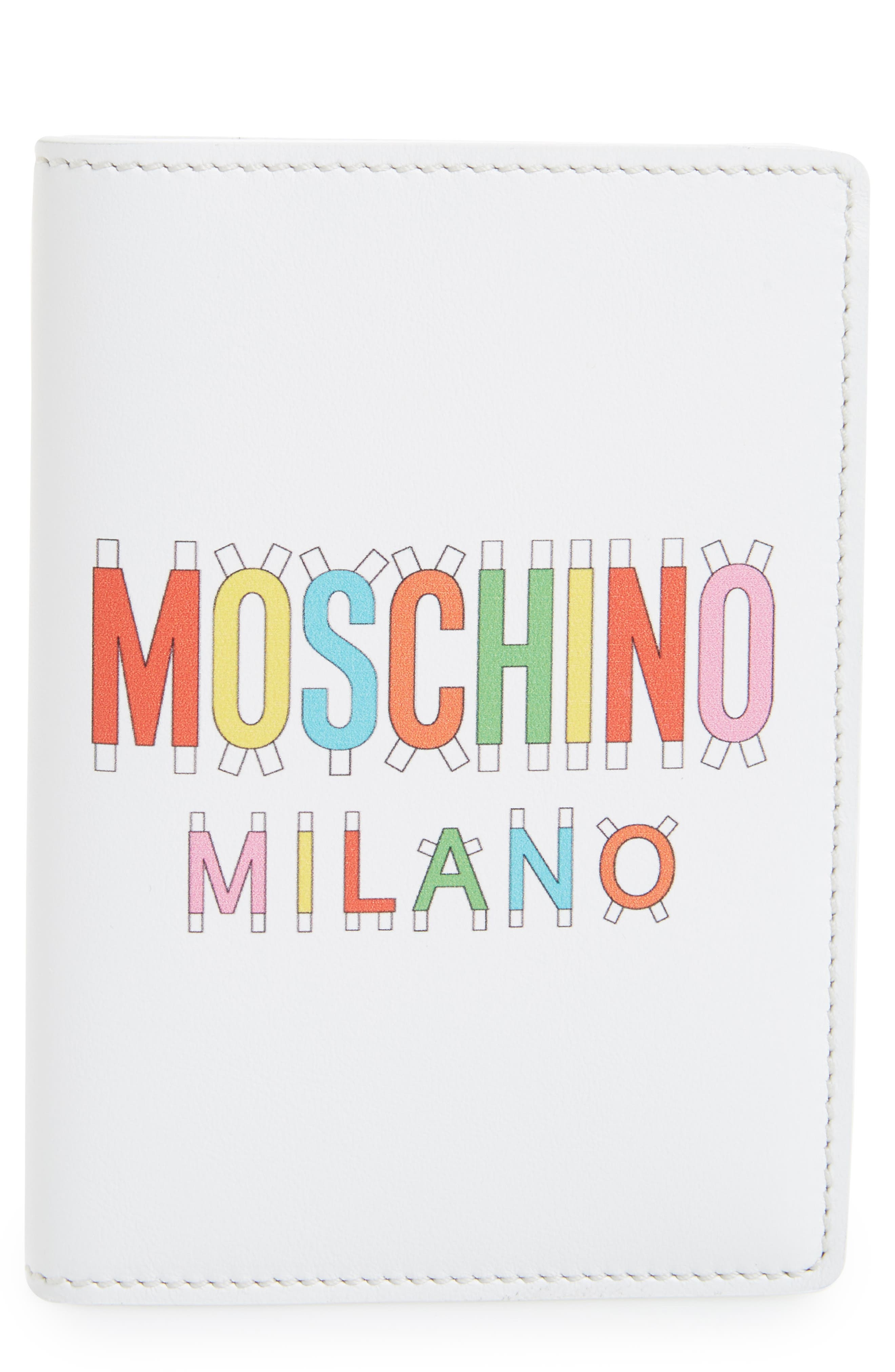 Moschino Paper Doll Multi Logo Leather Passport Case