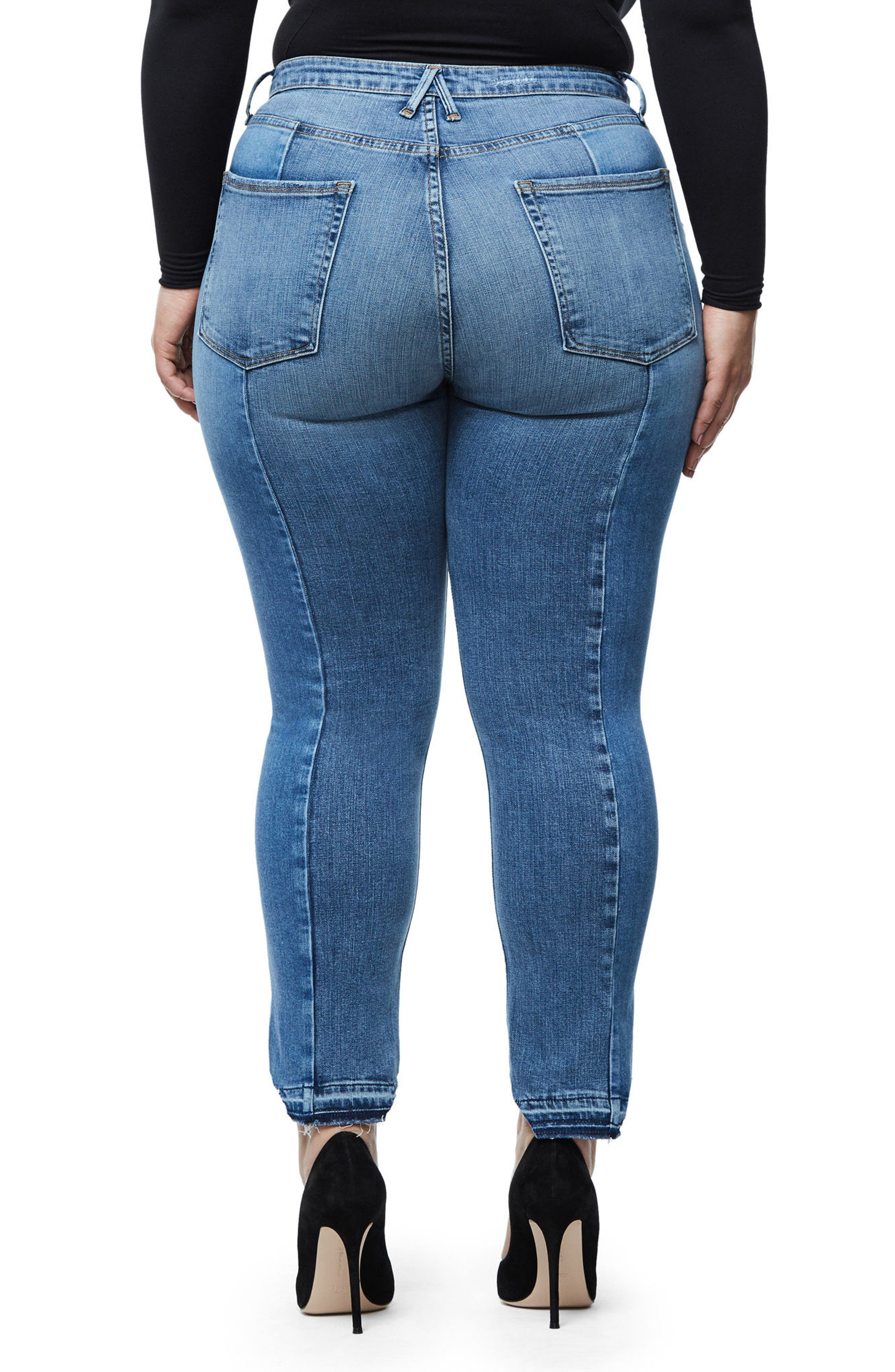 Alternate Image 8  - Good American Raw Hem High Waist Skinny Jeans (Blue 078) (Extended Sizes)