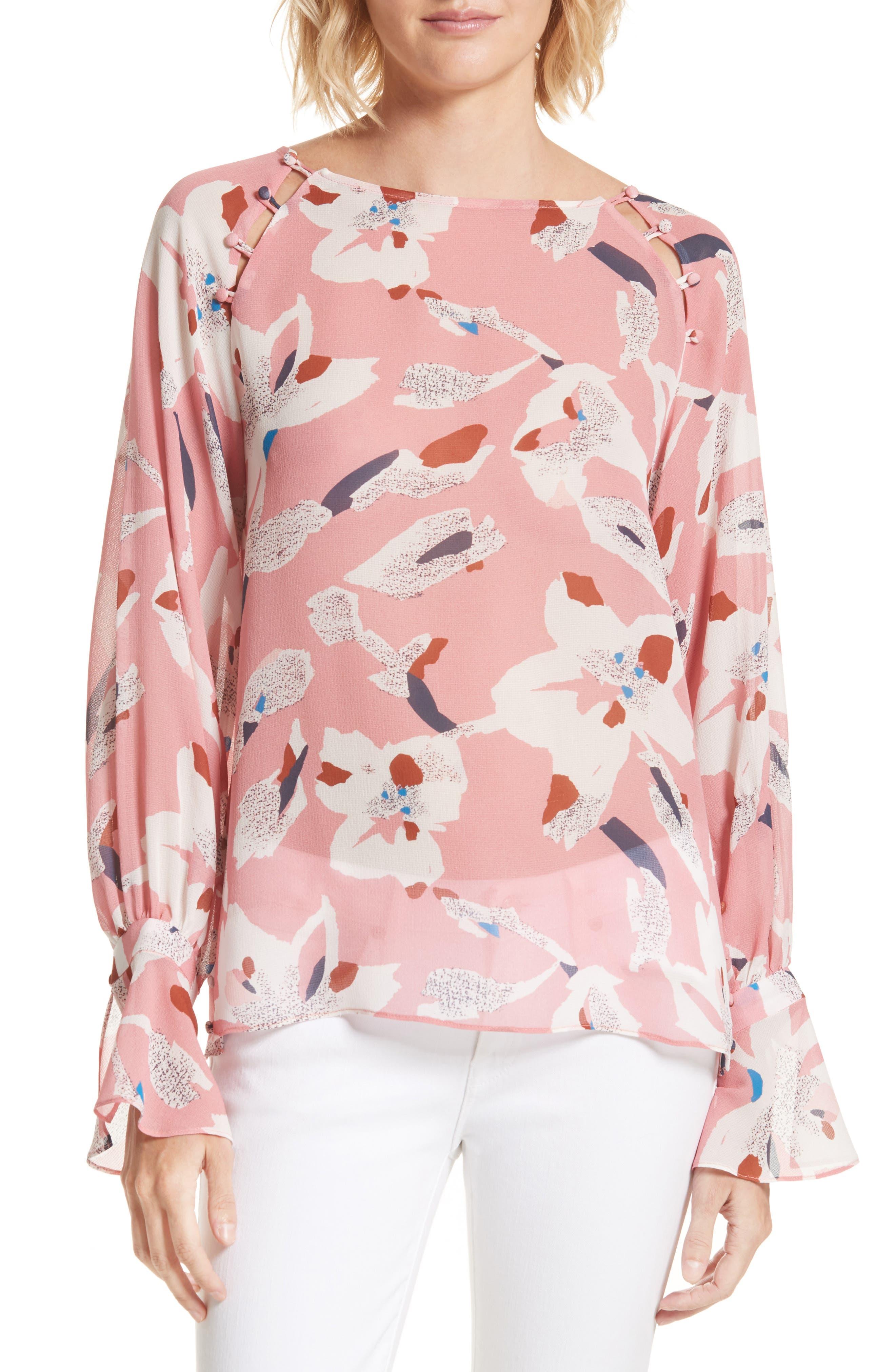 Tanya Taylor Samile Floral Print Silk Top