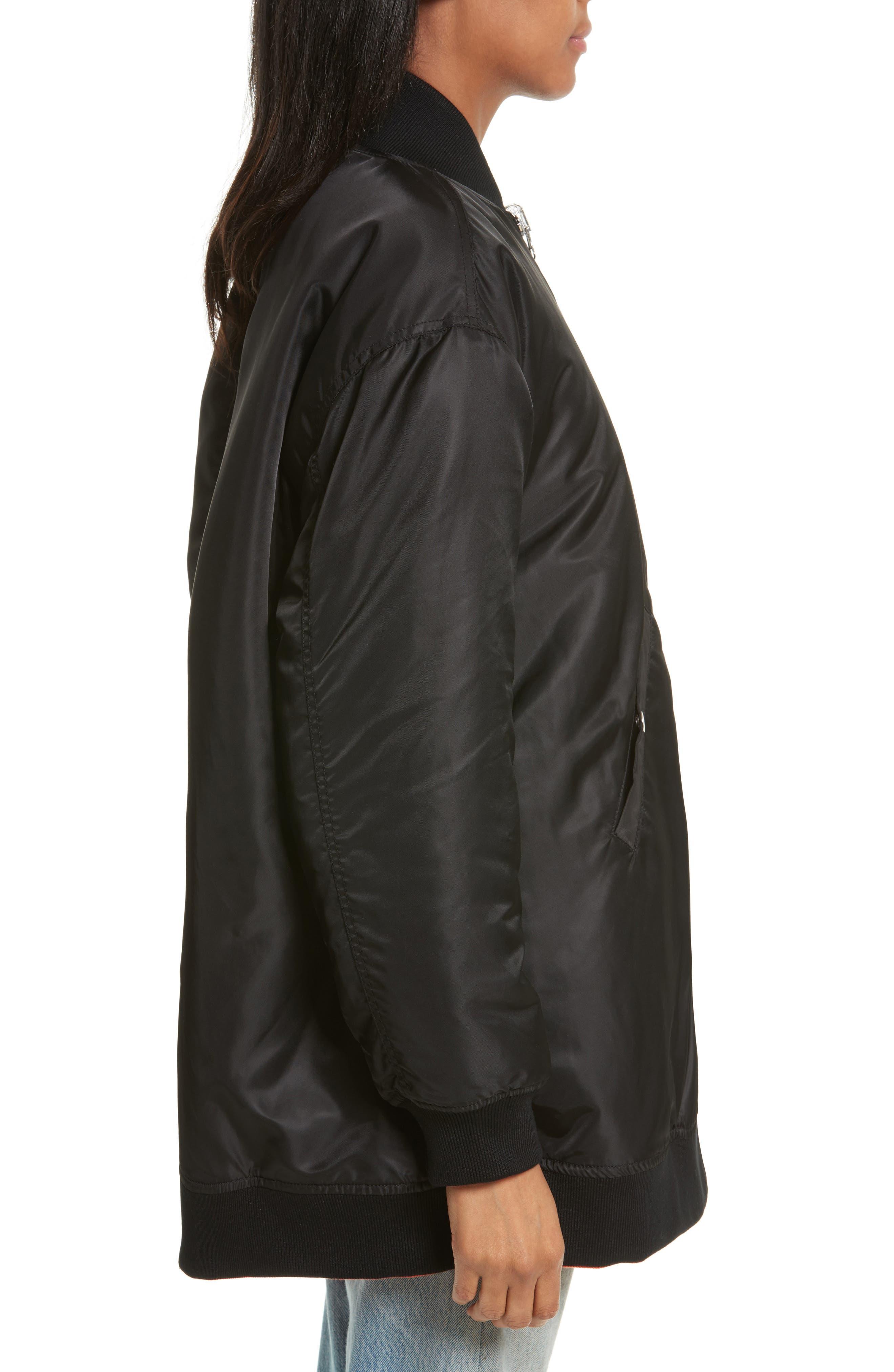Reversible Bomber Jacket,                             Alternate thumbnail 3, color,                             Black