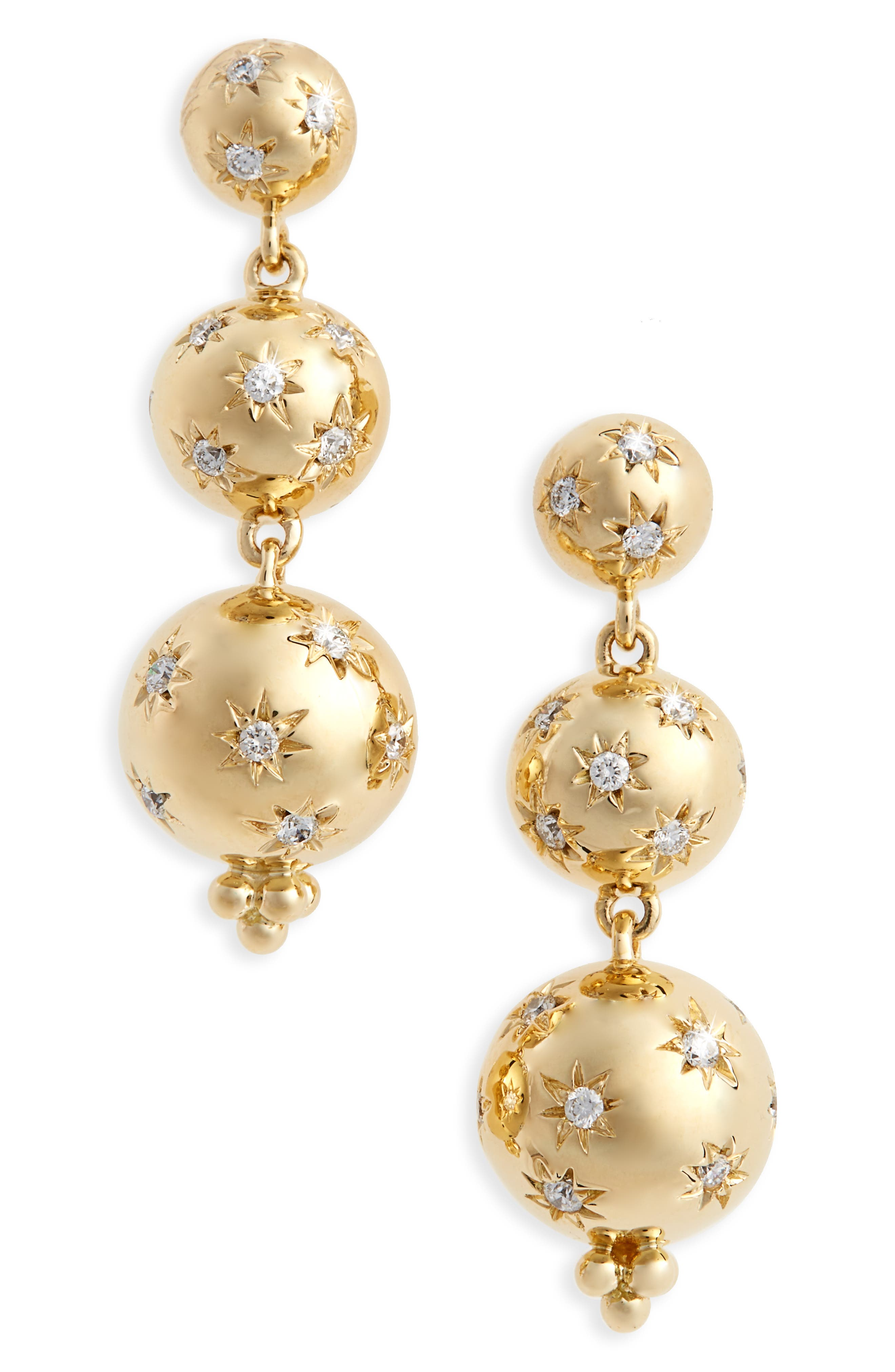Temple St. Clair Cosmos Diamond Drop Earrings,                             Main thumbnail 1, color,                             Yellow Gold