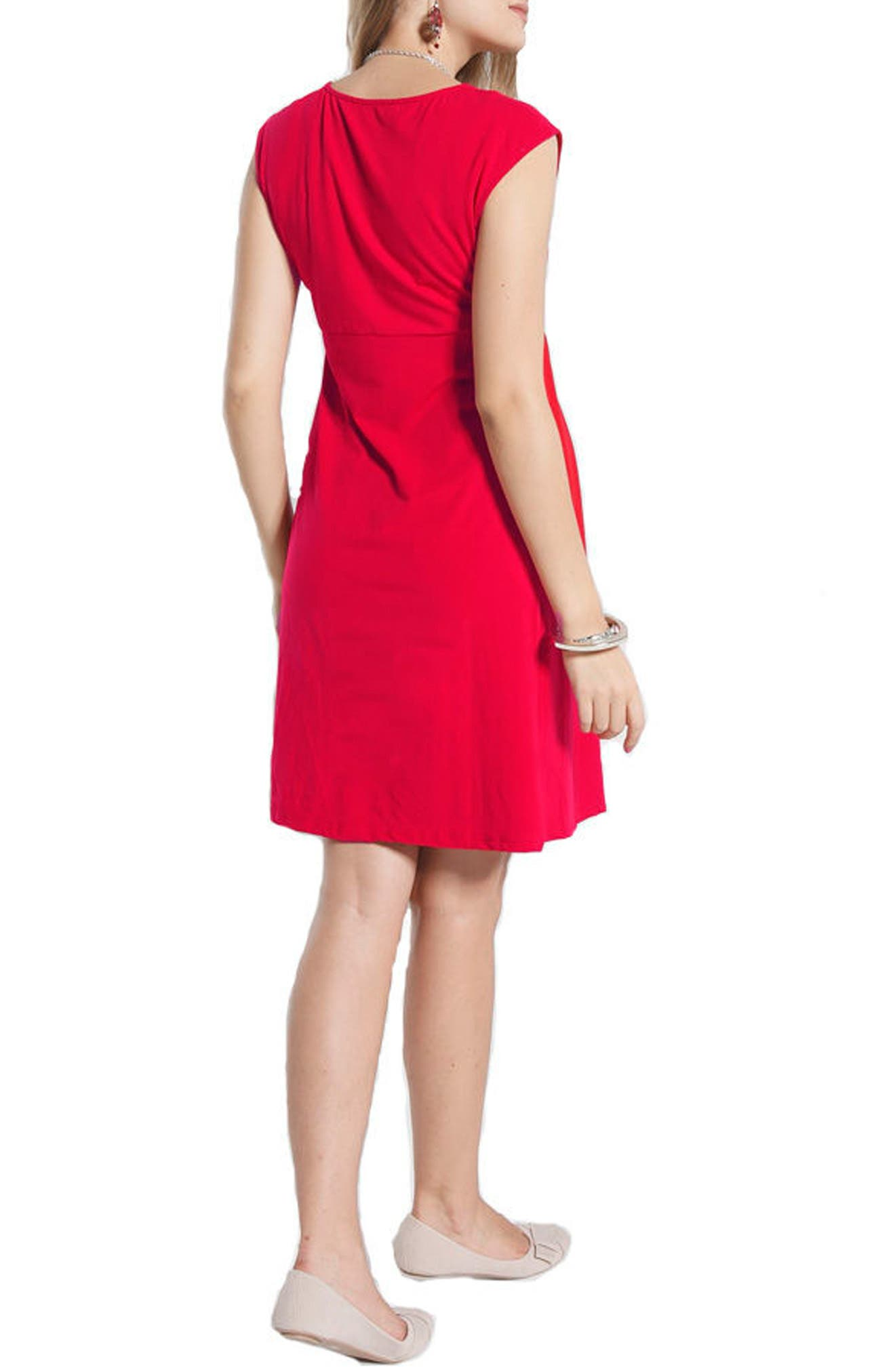 Stretch Cotton Maternity Dress,                             Alternate thumbnail 2, color,                             Hot Pink