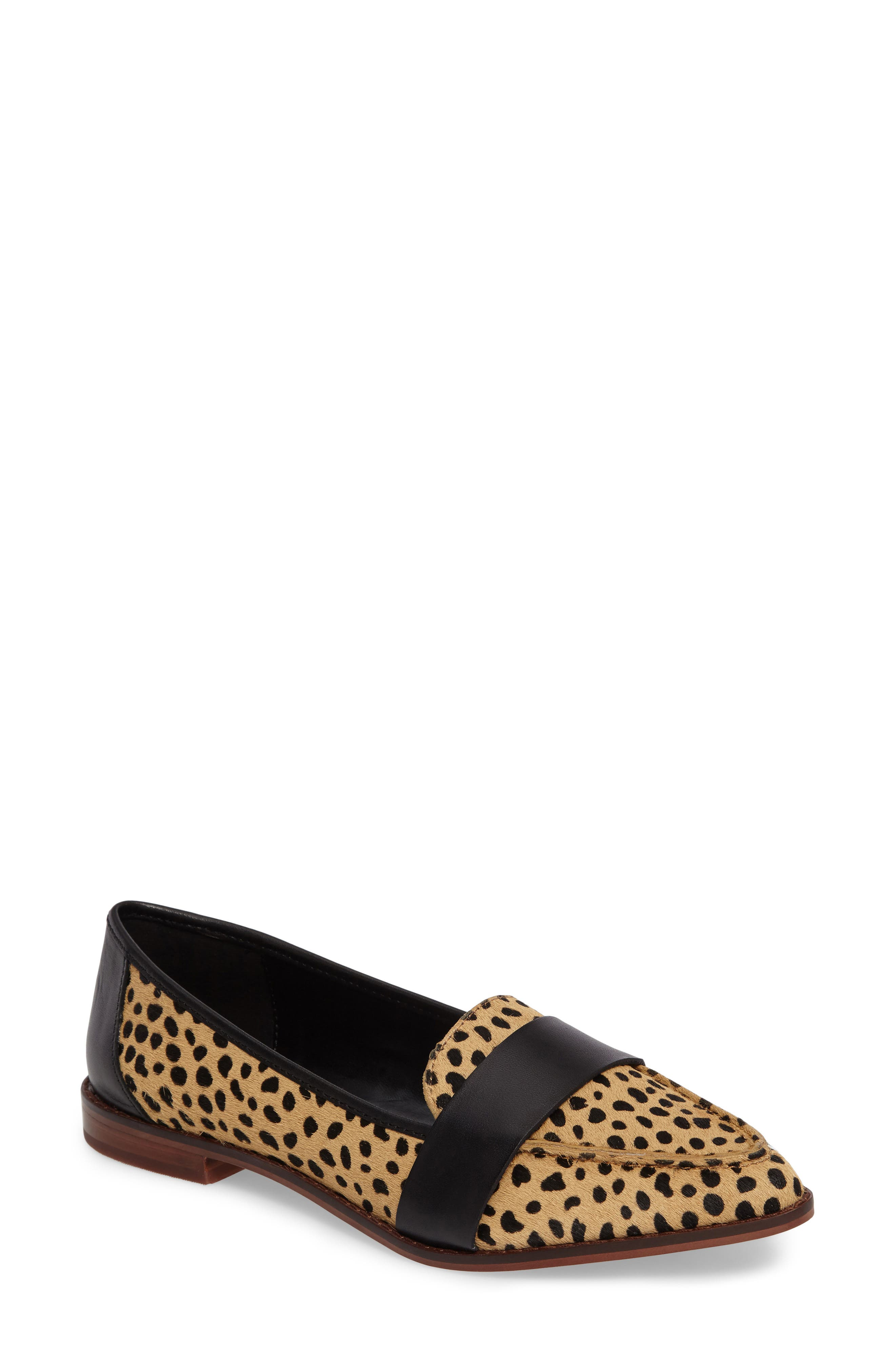 Edie Pointy Toe Loafer,                         Main,                         color, Cheetah Calfhair
