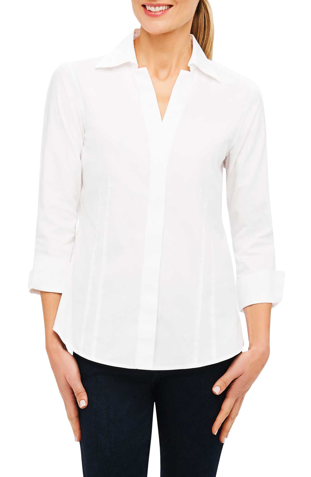 Fitted Non-Iron Shirt,                             Main thumbnail 1, color,                             White