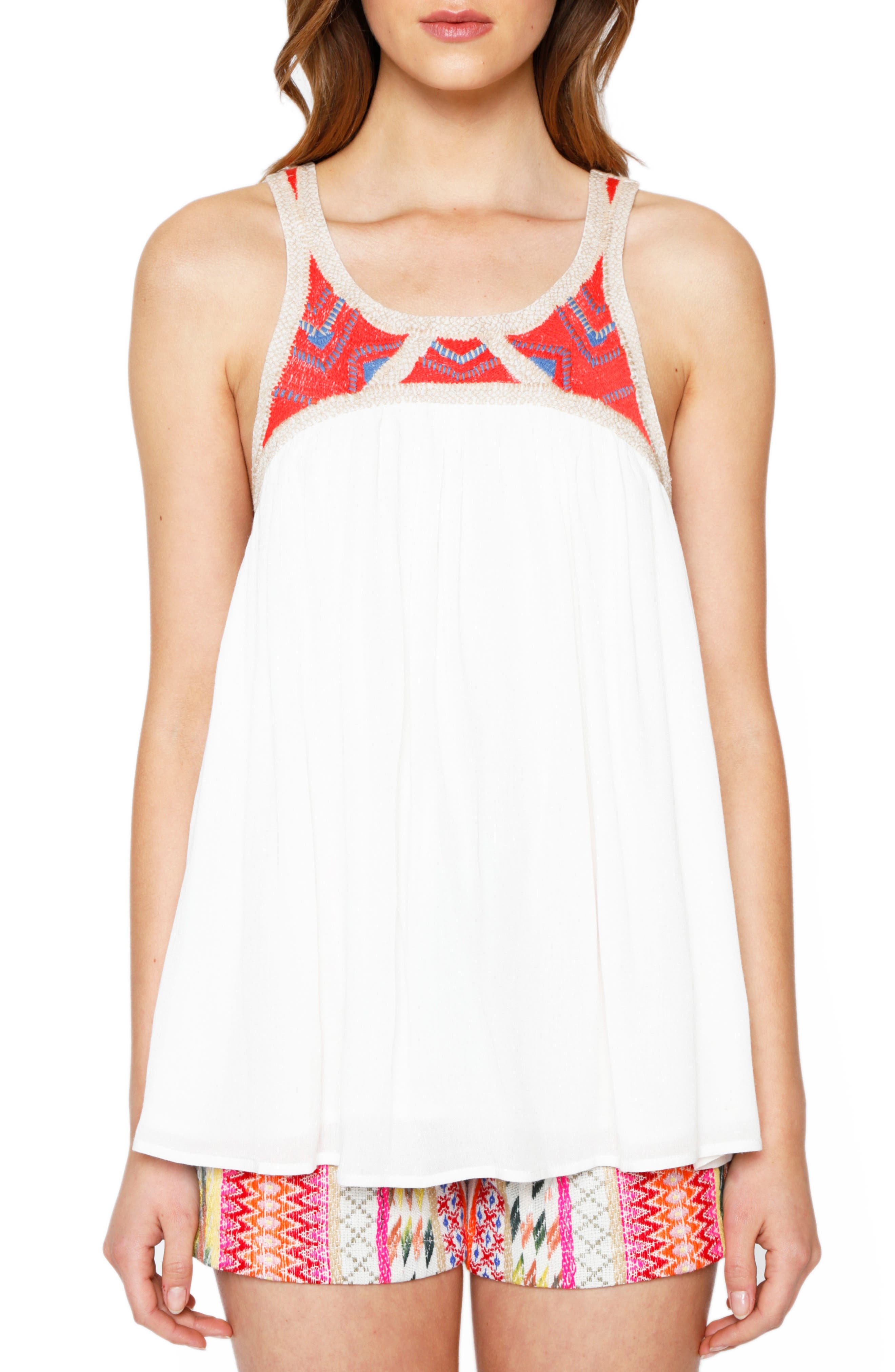 WILLOW & CLAY Embroidered Yoke Tank