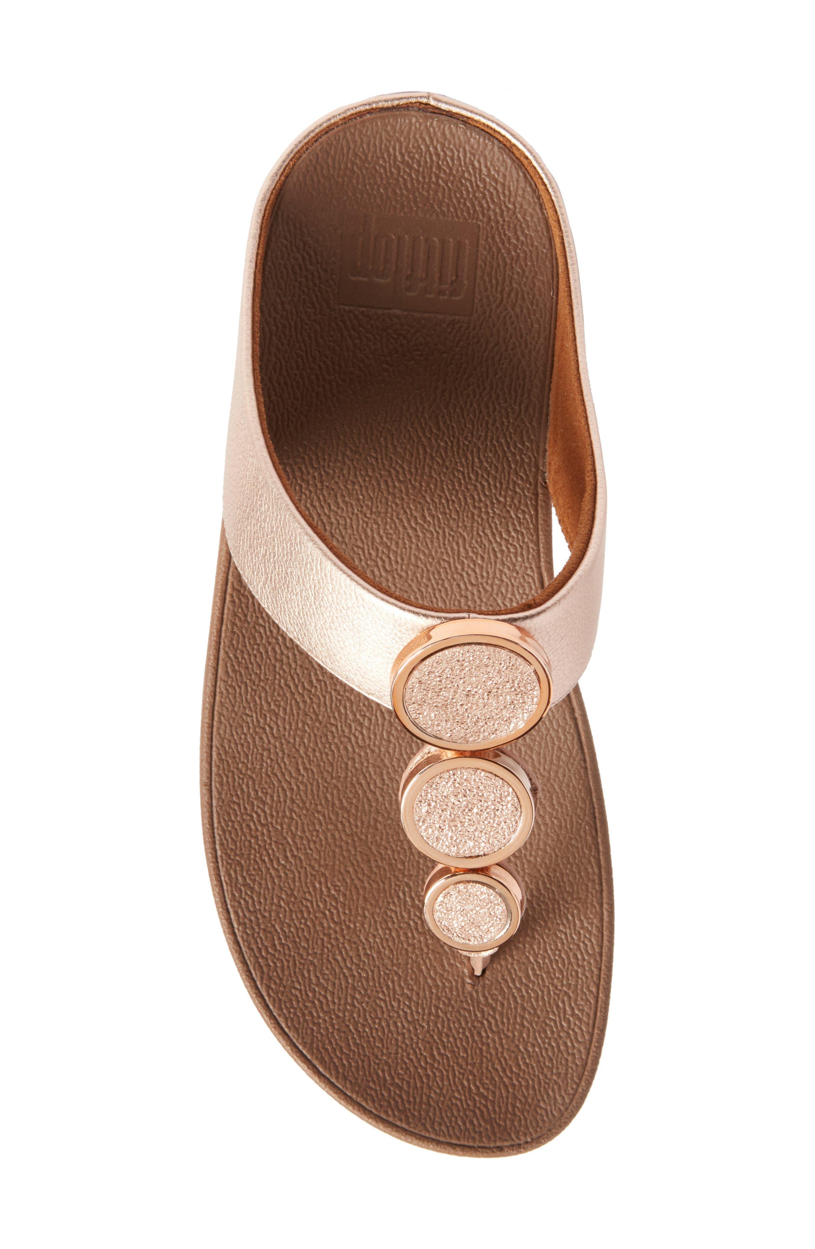 Halo Sandal,                             Alternate thumbnail 5, color,                             Rose Gold Leather