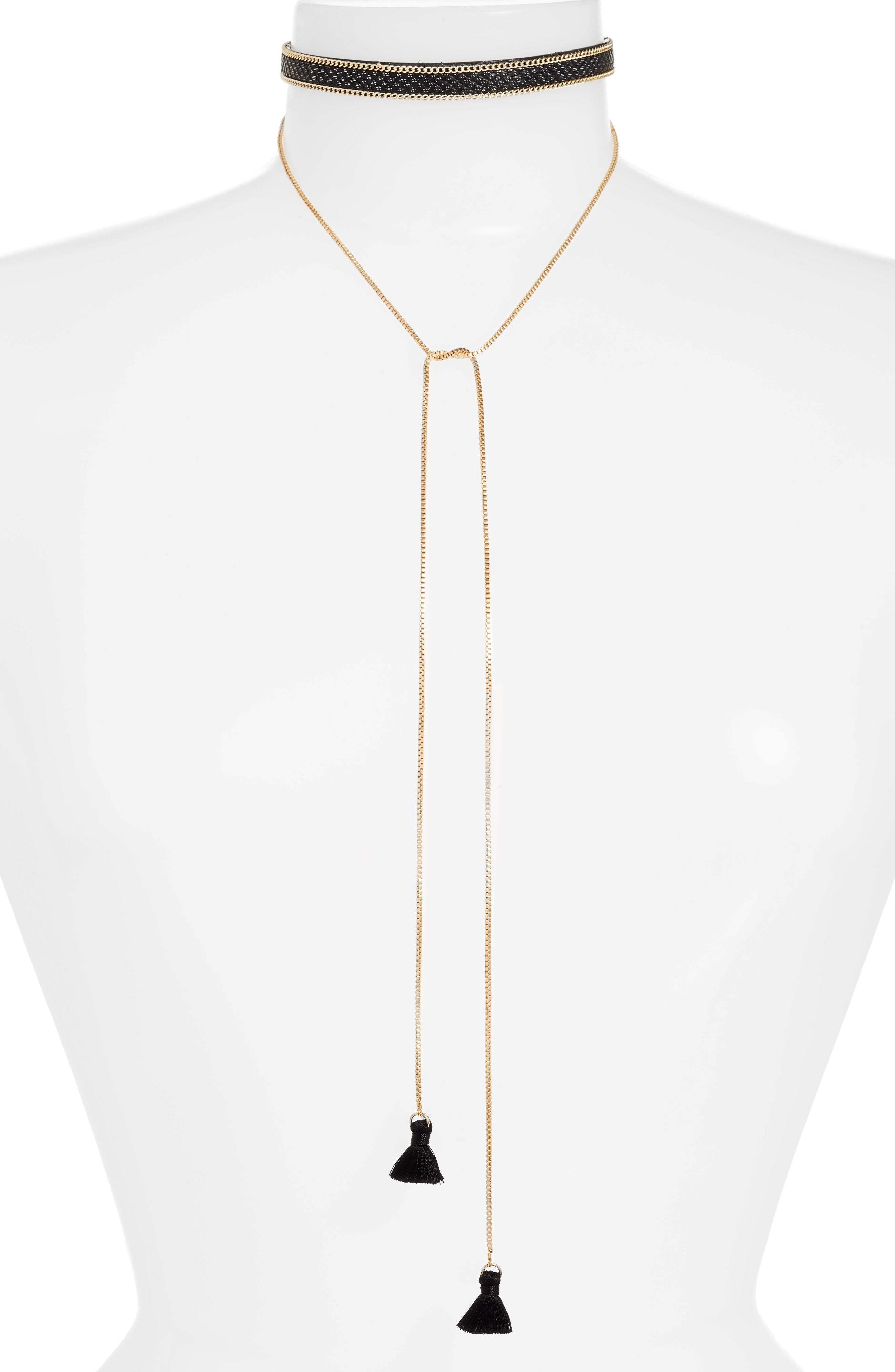 Debbie Choker Necklace,                         Main,                         color, Black/ Gold