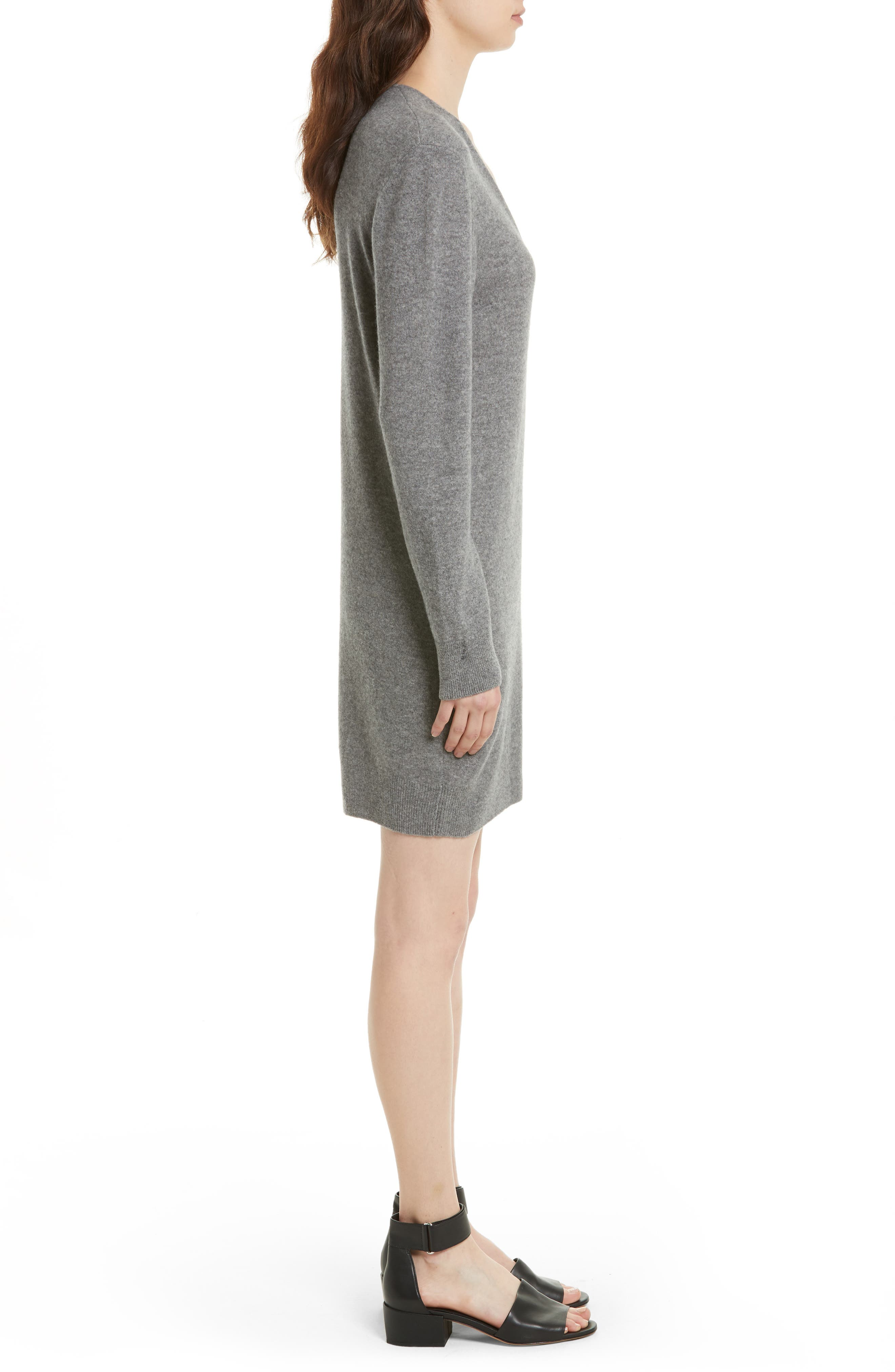 Rosemary V-Neck Cashmere Sweater Dress,                             Alternate thumbnail 3, color,                             Heather Grey