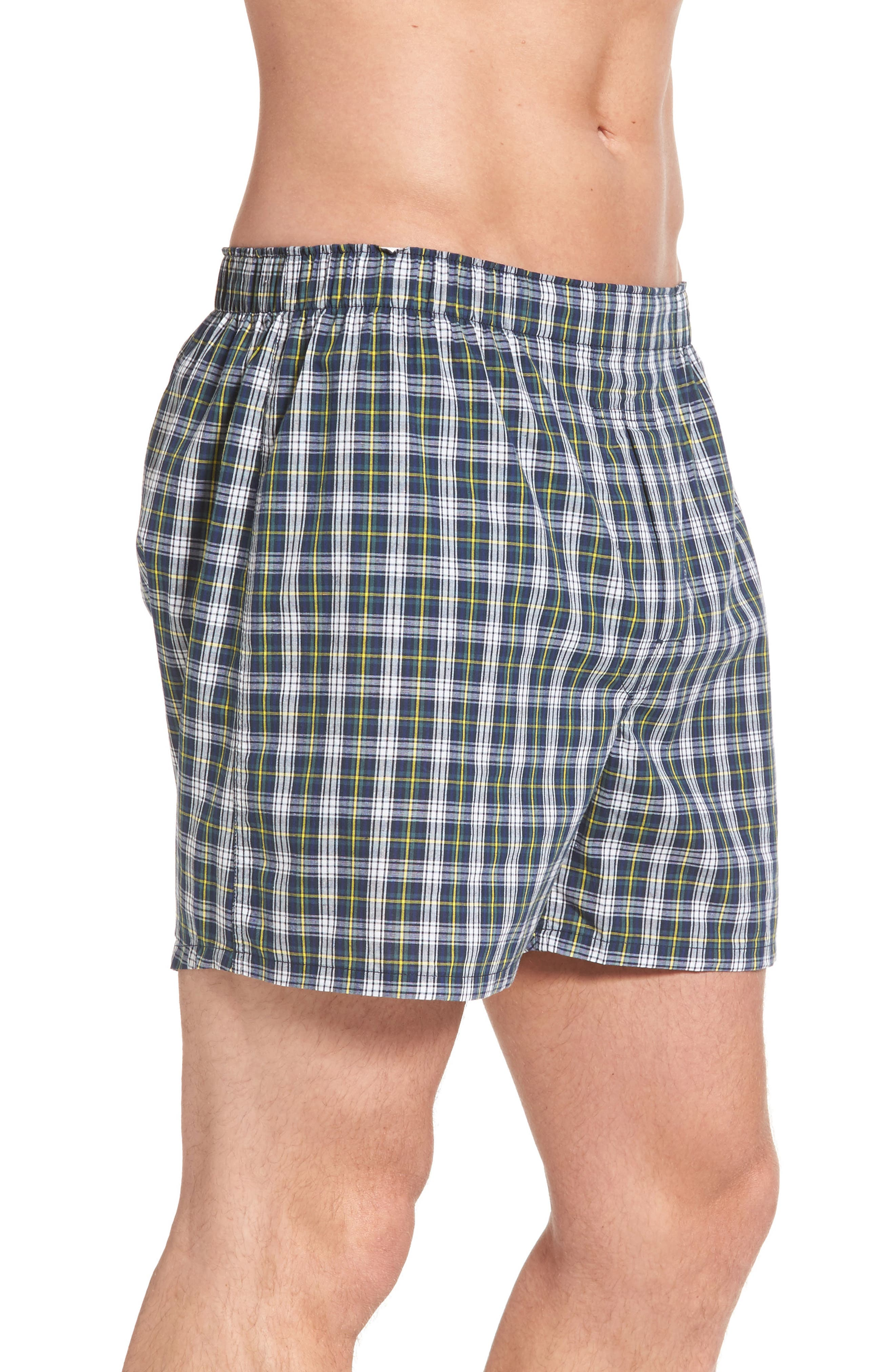 Assorted 3-Pack Woven Cotton Boxers,                             Alternate thumbnail 4, color,                             Blue/ Green Plaid/ Navy Plaid