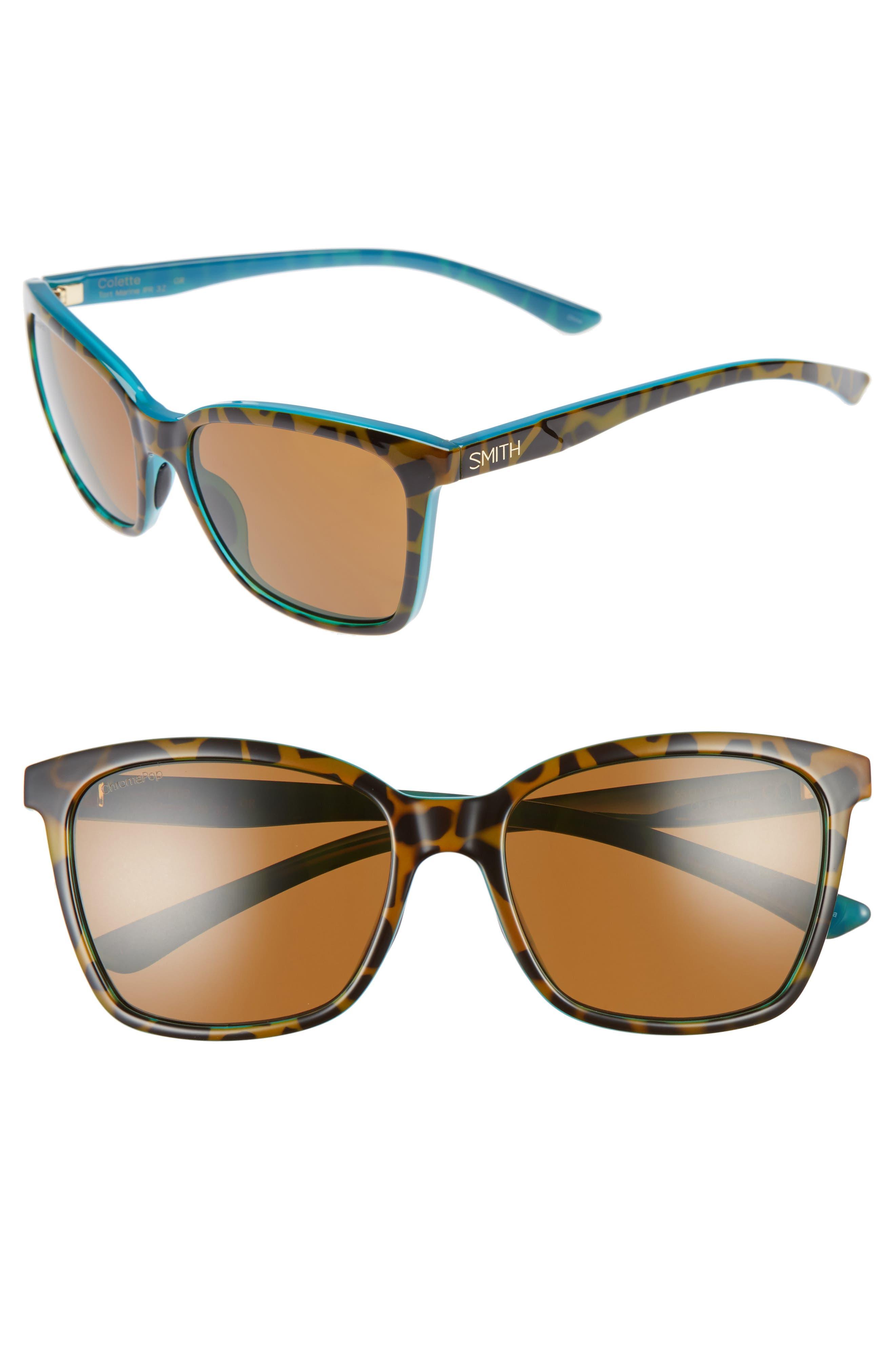 'Colette' 55mm ChromaPop<sup>™</sup> Polarized Sunglasses,                             Main thumbnail 1, color,                             Tortoise Marine
