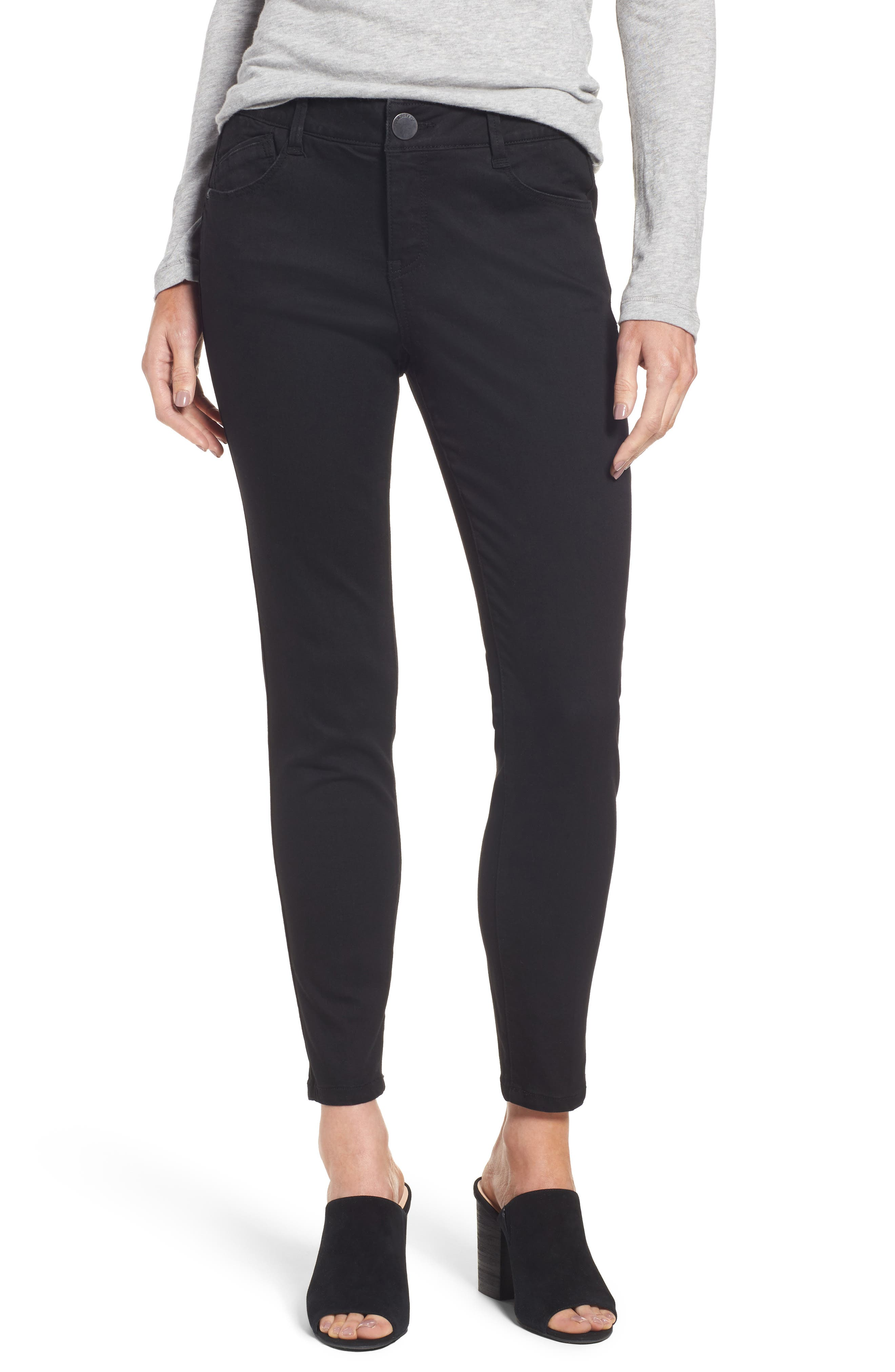 Ab-solution Stretch Ankle Skinny Jeans,                         Main,                         color, Black