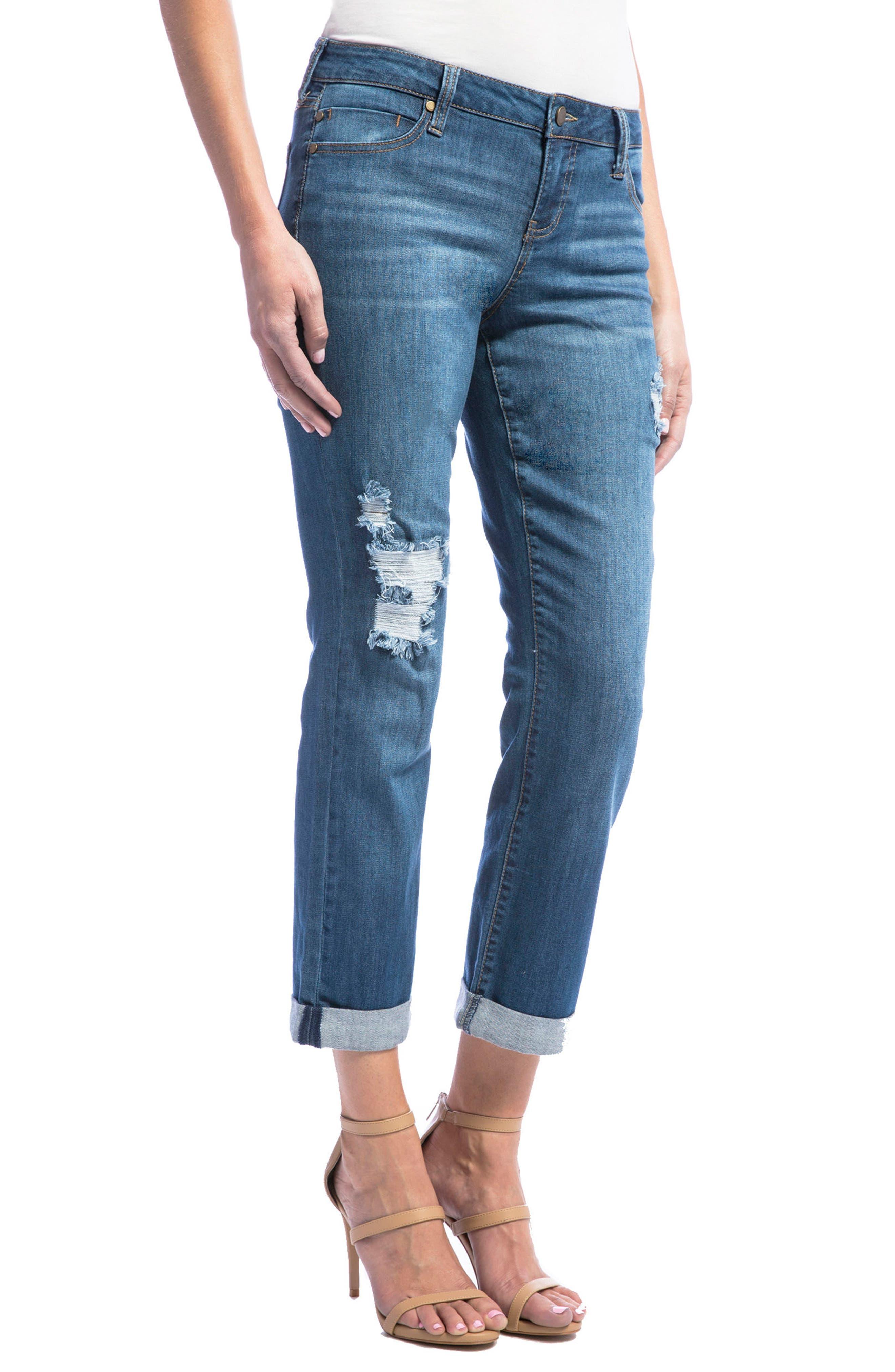 Jeans Company Peyton Slim Stretch Crop Boyfriend Jeans,                             Alternate thumbnail 3, color,                             Montauk Mid/ Destruction