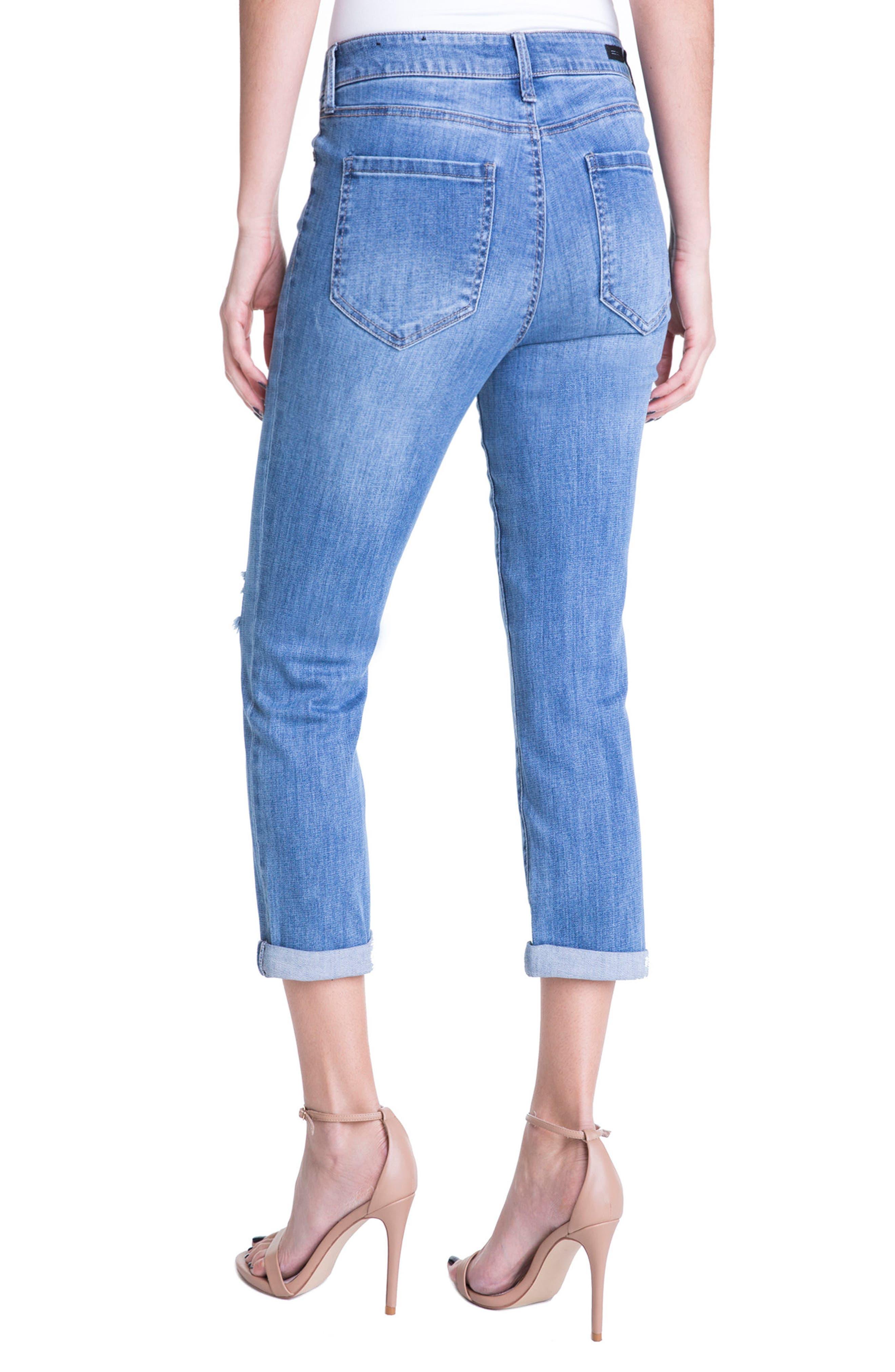 Michelle Distressed Cuff Capri Jeans,                             Alternate thumbnail 4, color,                             Melbourne Light/ Destruction