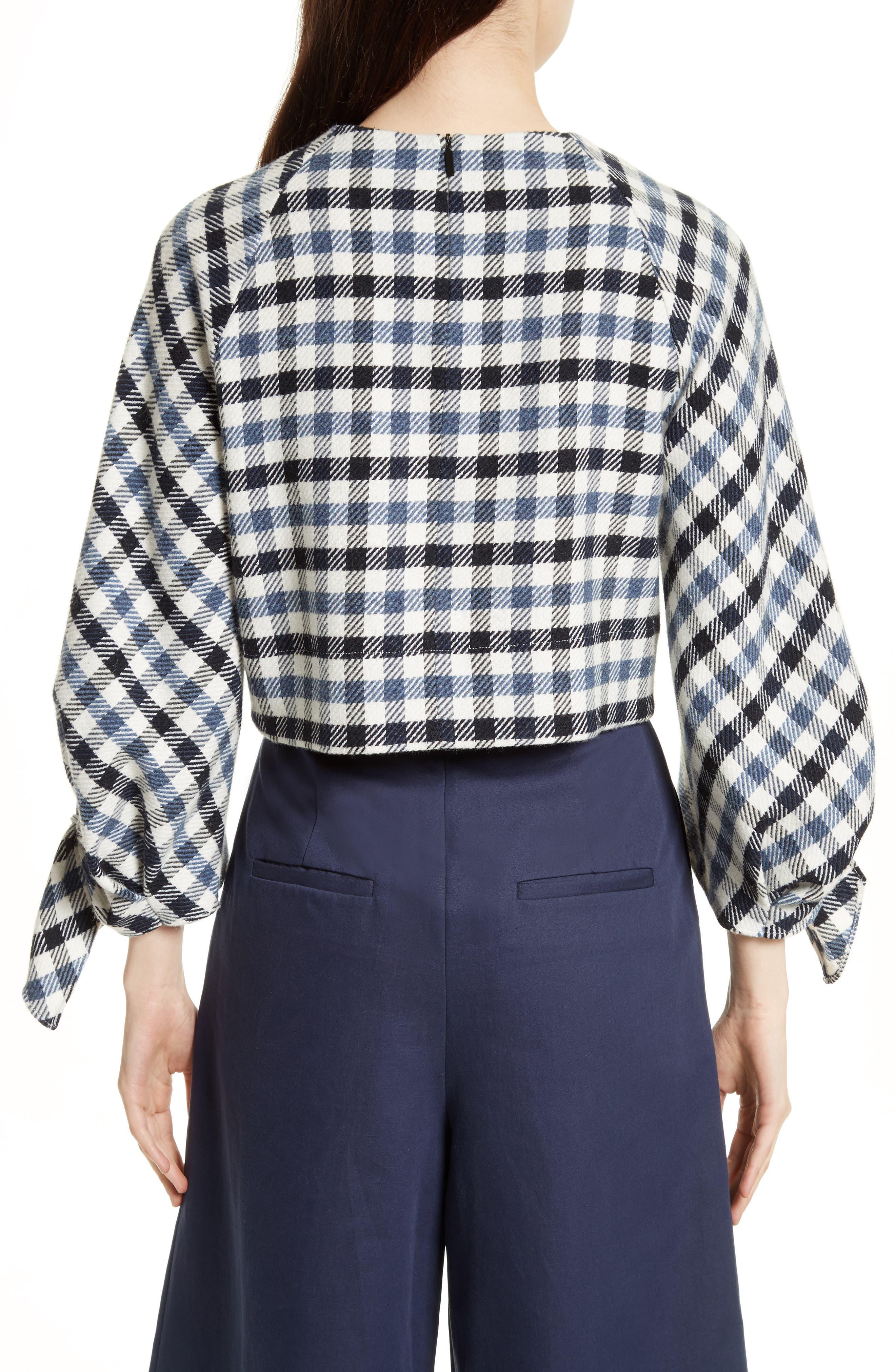 Fairfax Gingham Tie Sleeve Crop Top,                             Alternate thumbnail 2, color,                             Blue Multi