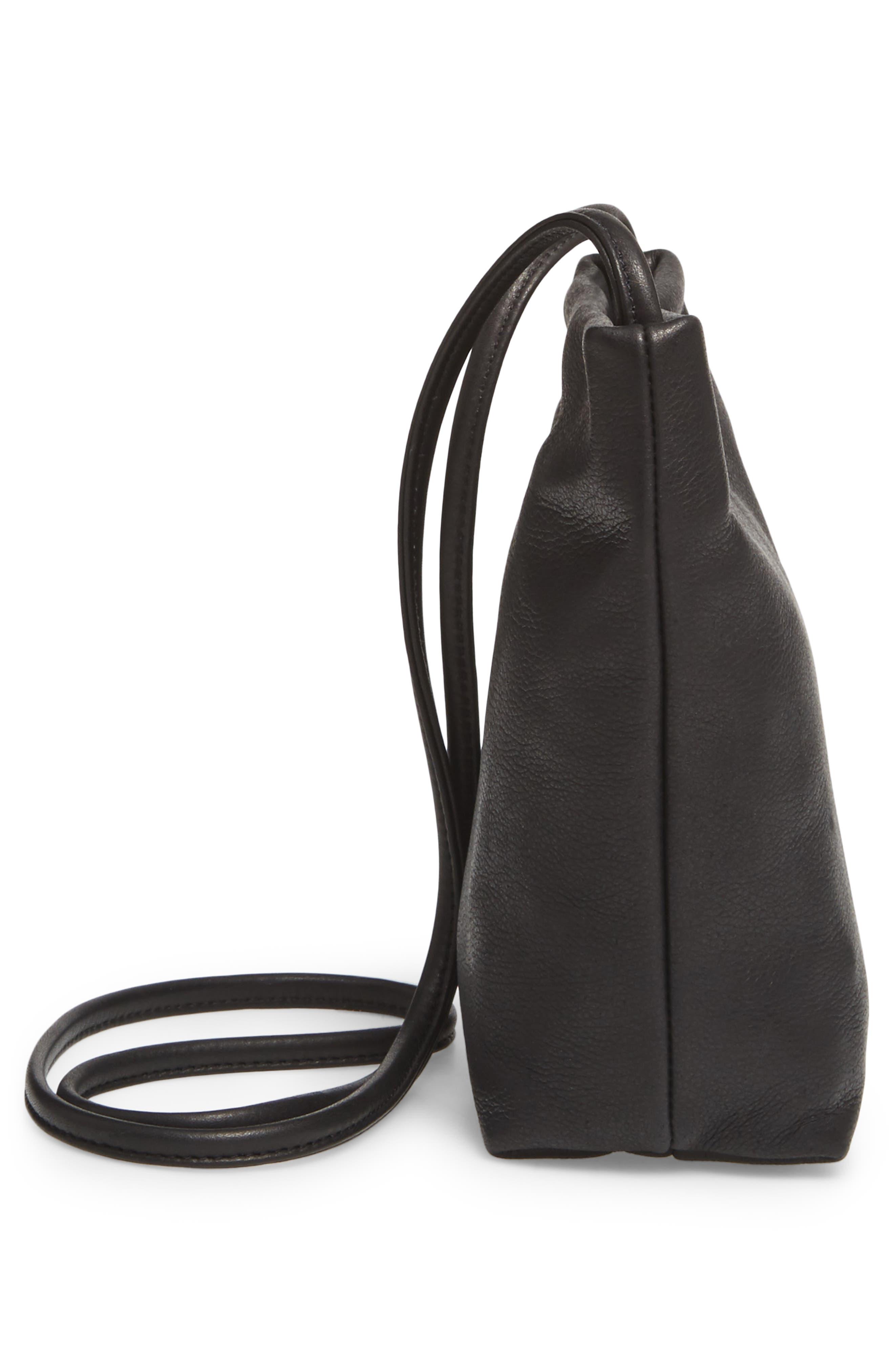 Leather Crossbody Bag,                             Alternate thumbnail 4, color,                             Black