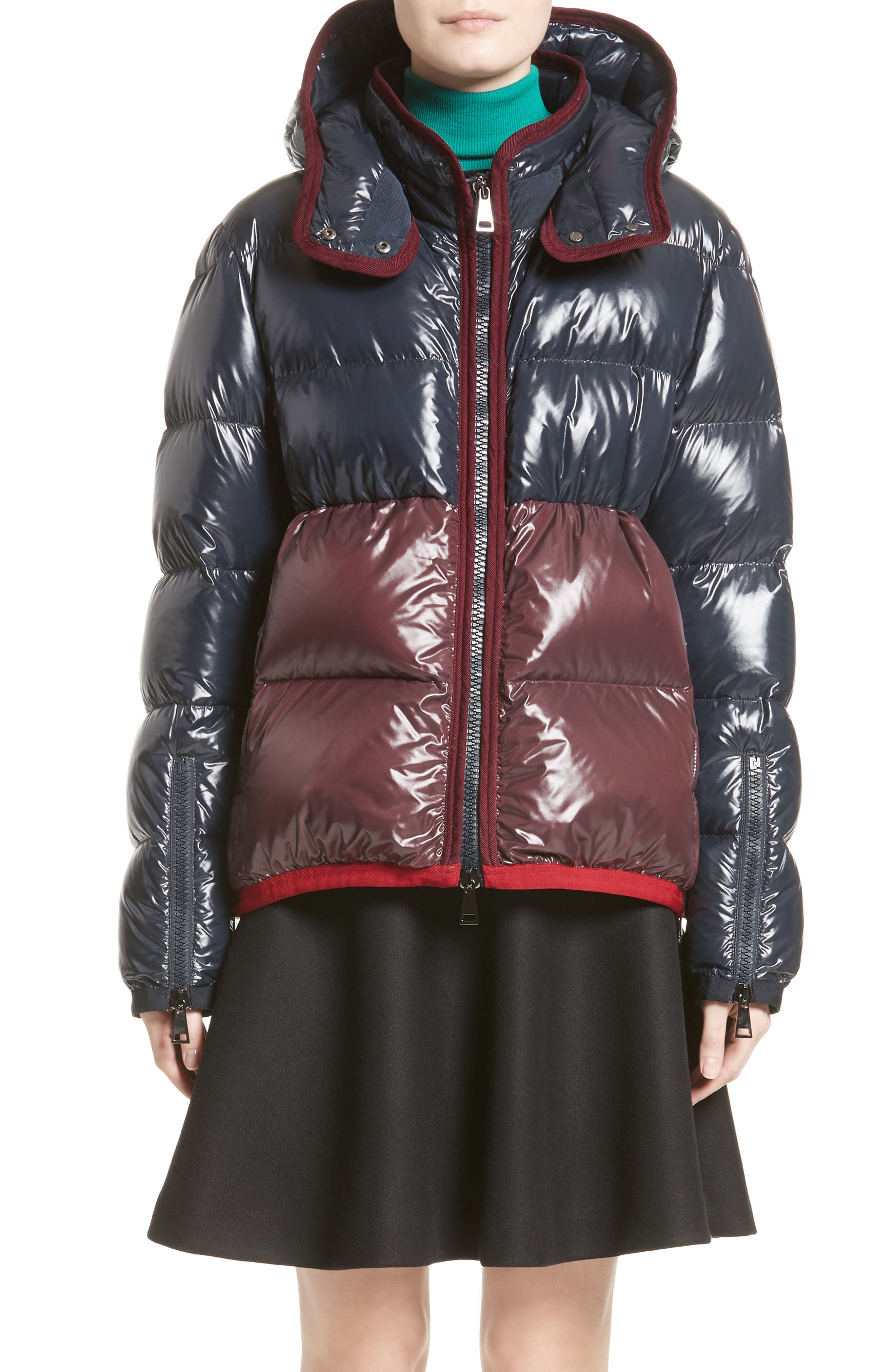 Cotinus Hooded Down Puffer Jacket,                             Main thumbnail 1, color,                             Navy/ Burgundy