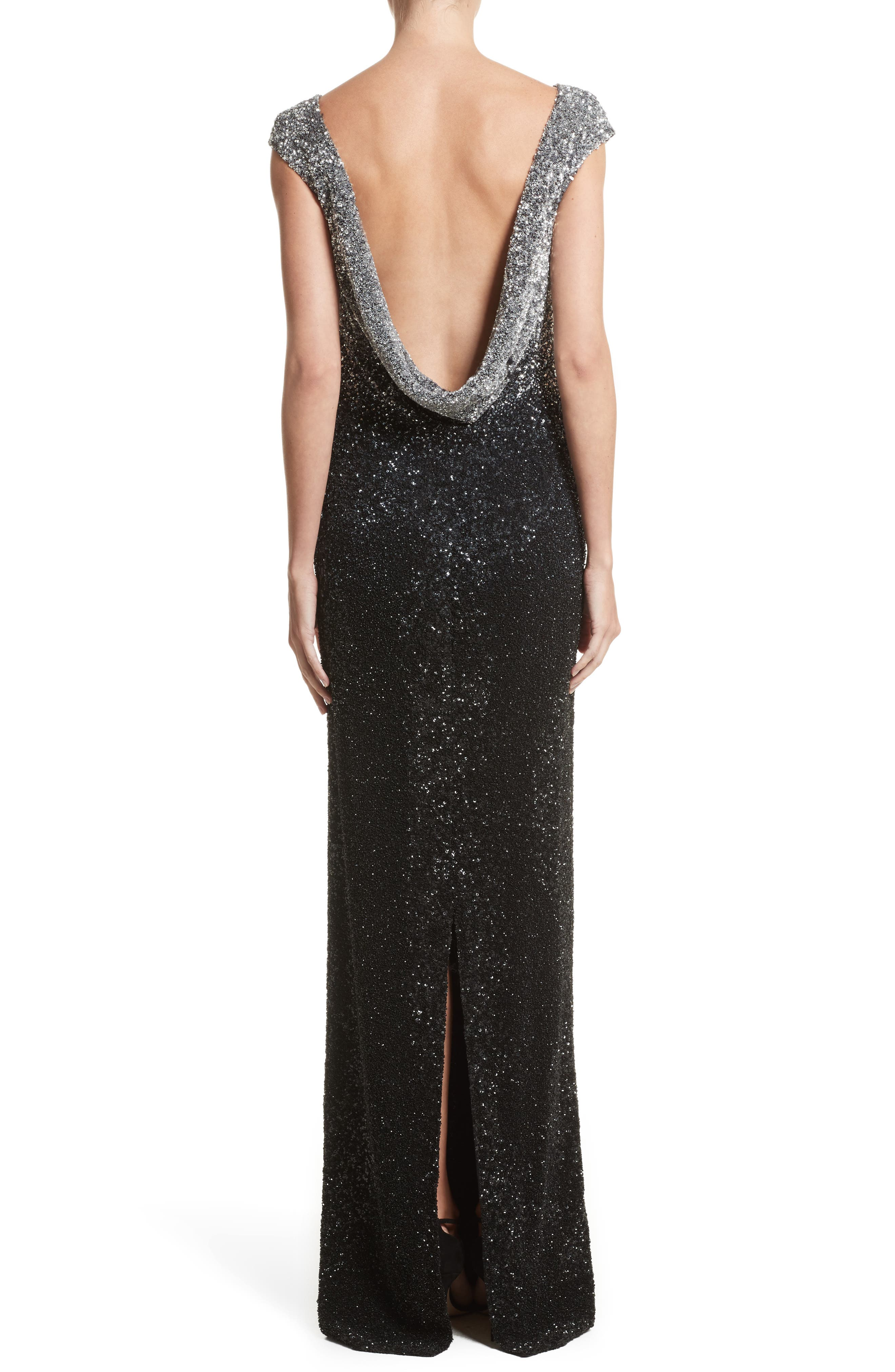 Drape Back Ombré Sequin Gown,                             Alternate thumbnail 2, color,                             Gunmetal/Navy/Black