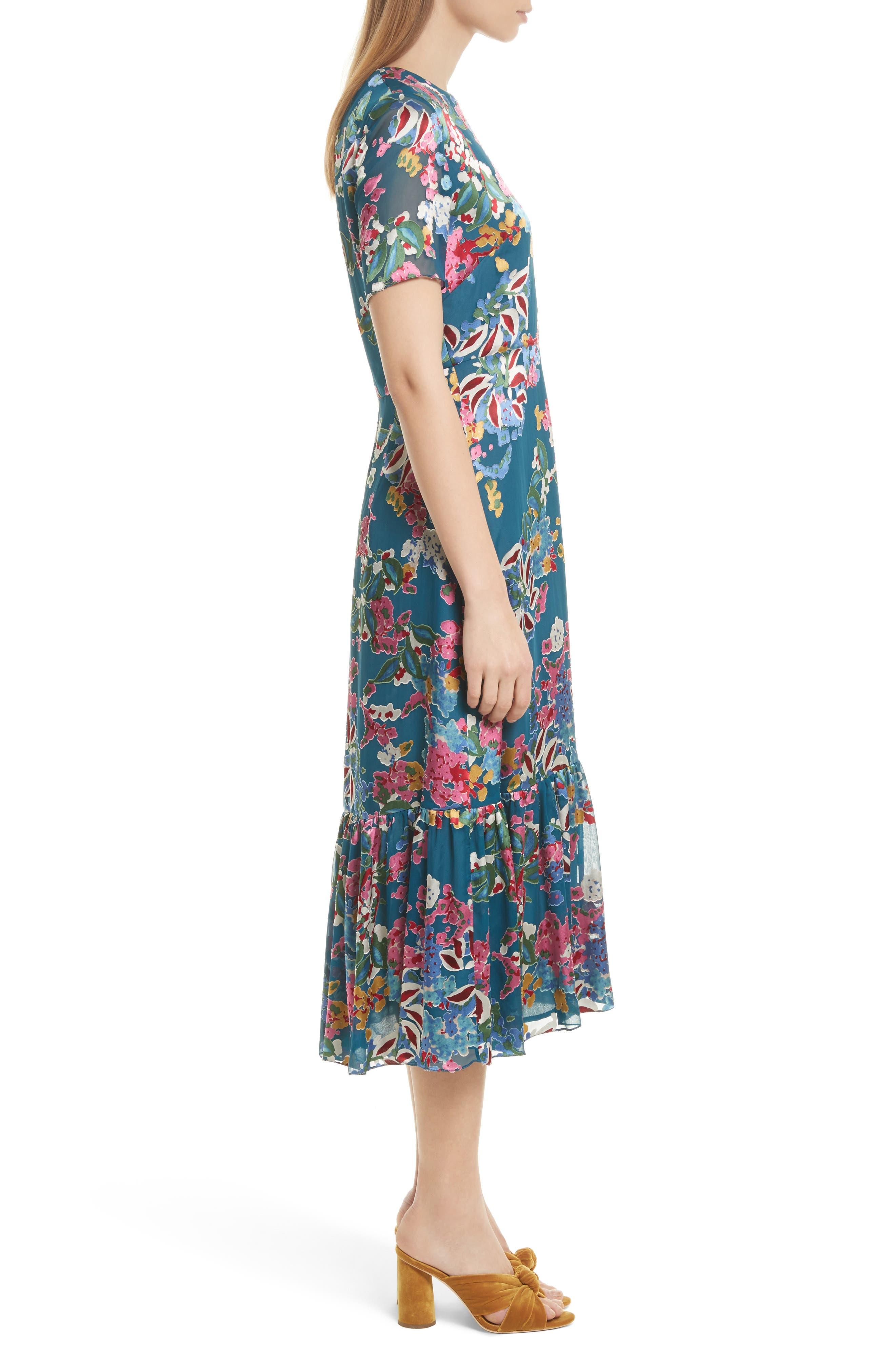 Alternate Image 3  - SALONI Lorna Print Ruffle Hem Midi Dress