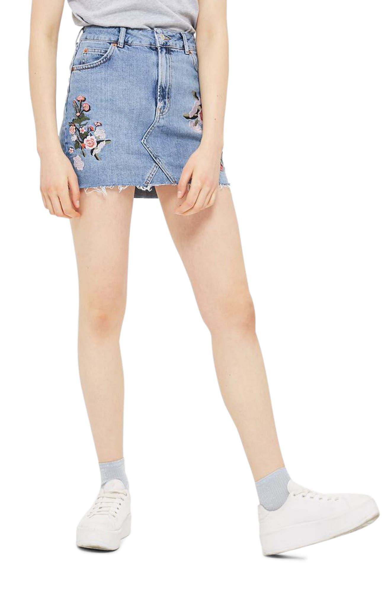 Embriodered Denim Miniskirt,                             Main thumbnail 1, color,                             Mid Denim