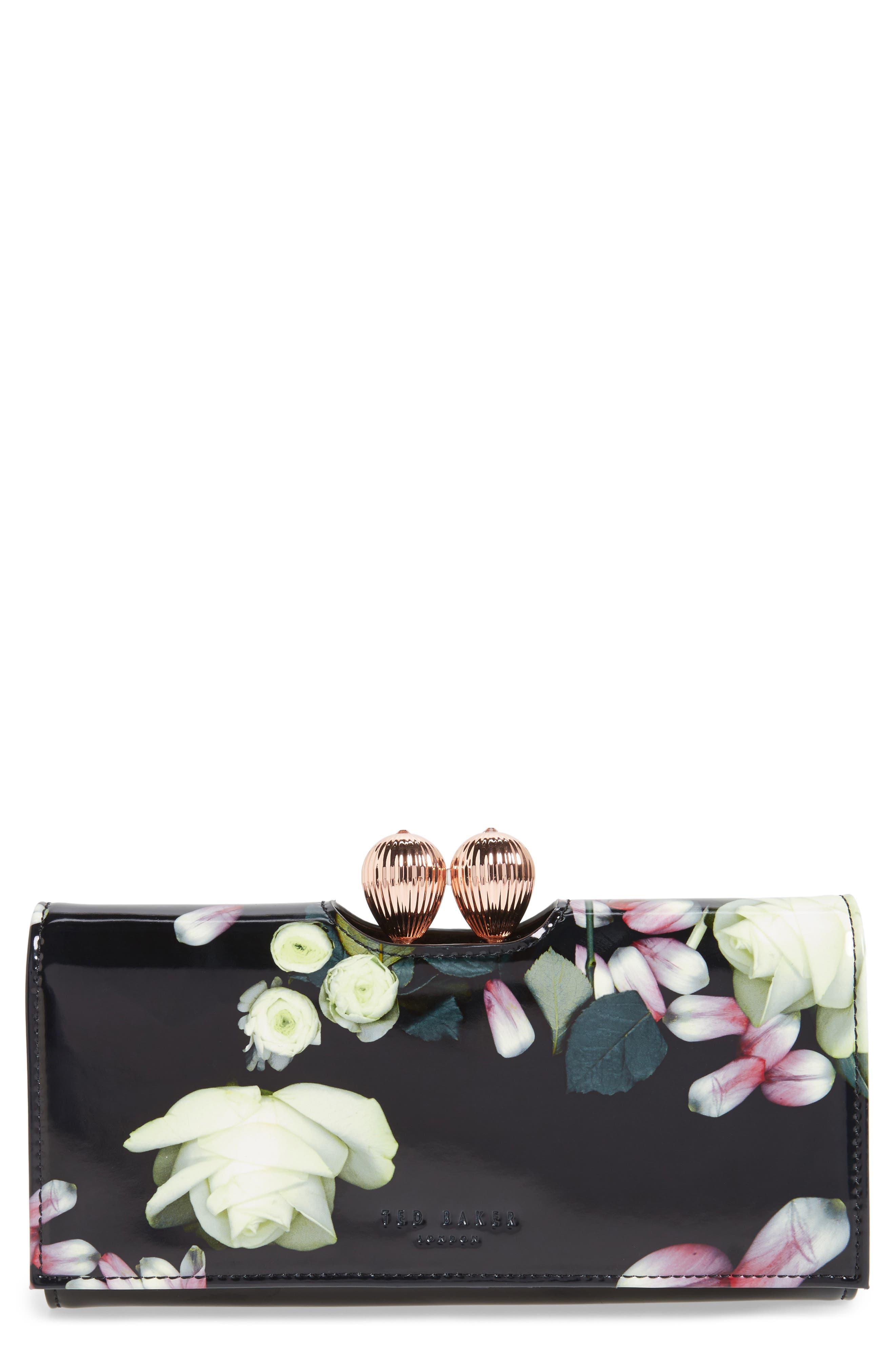 Marcco Kensington Leather Matinée Wallet,                             Main thumbnail 1, color,                             Black