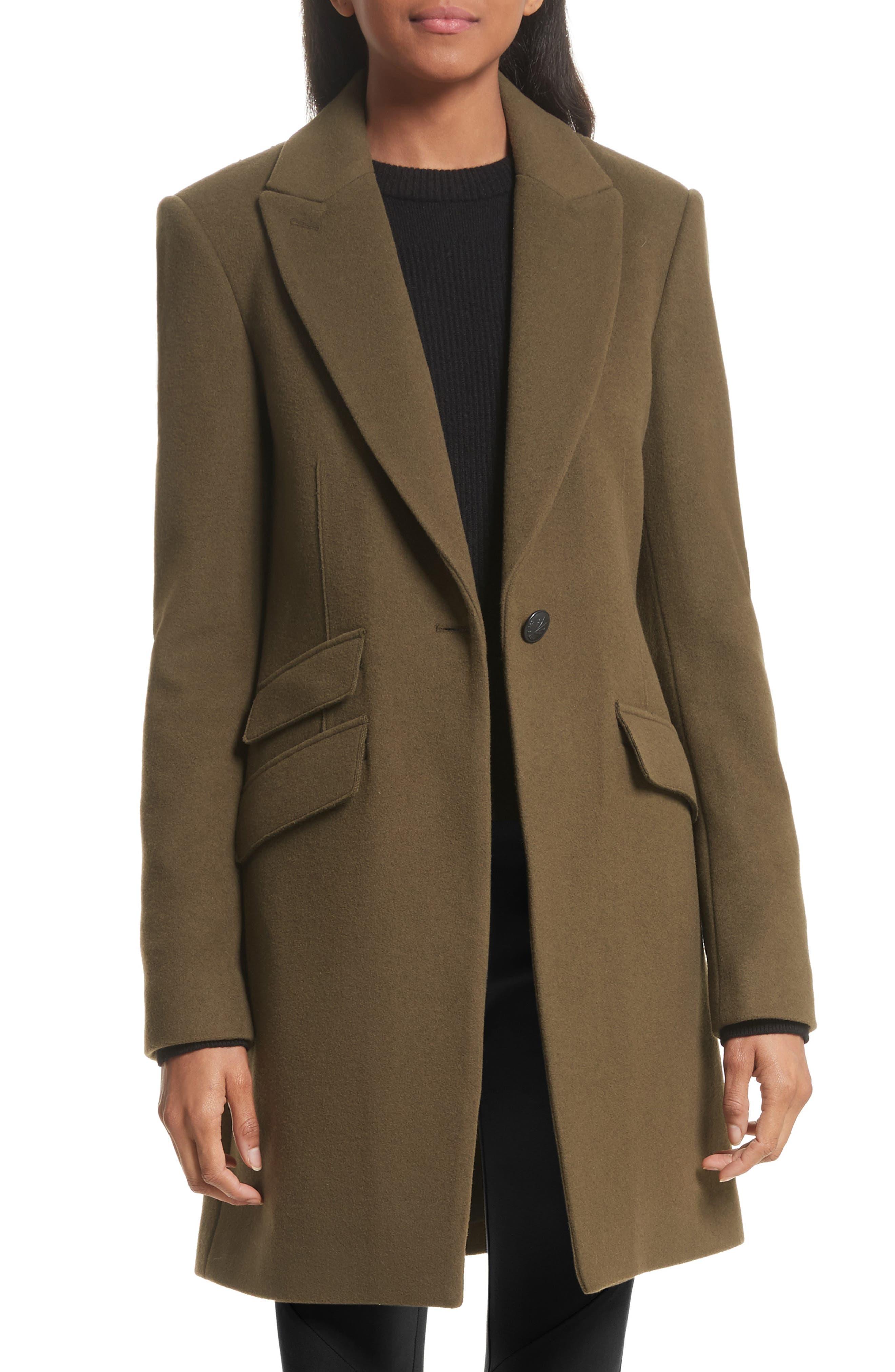 Duchess Wool Blend Coat,                             Main thumbnail 1, color,                             Olive