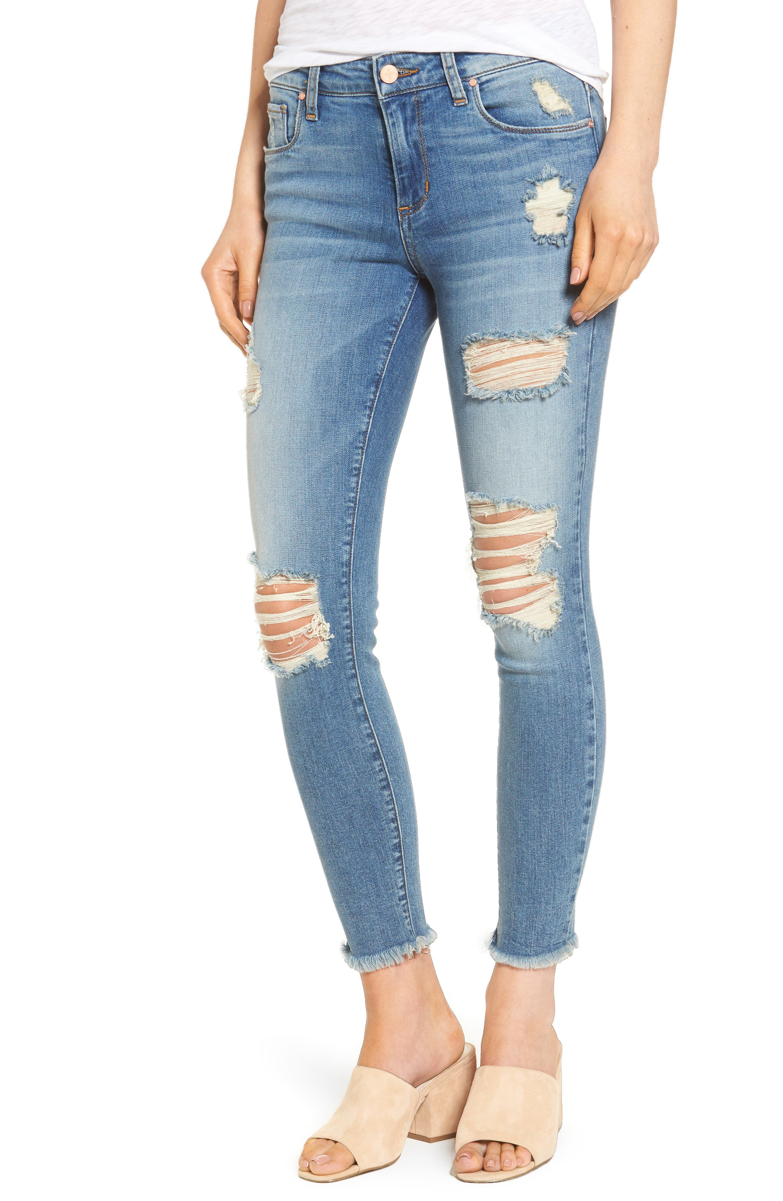 Ripped Crop Skinny Jeans,                             Main thumbnail 1, color,                             Medium Blue Destroyed Wash