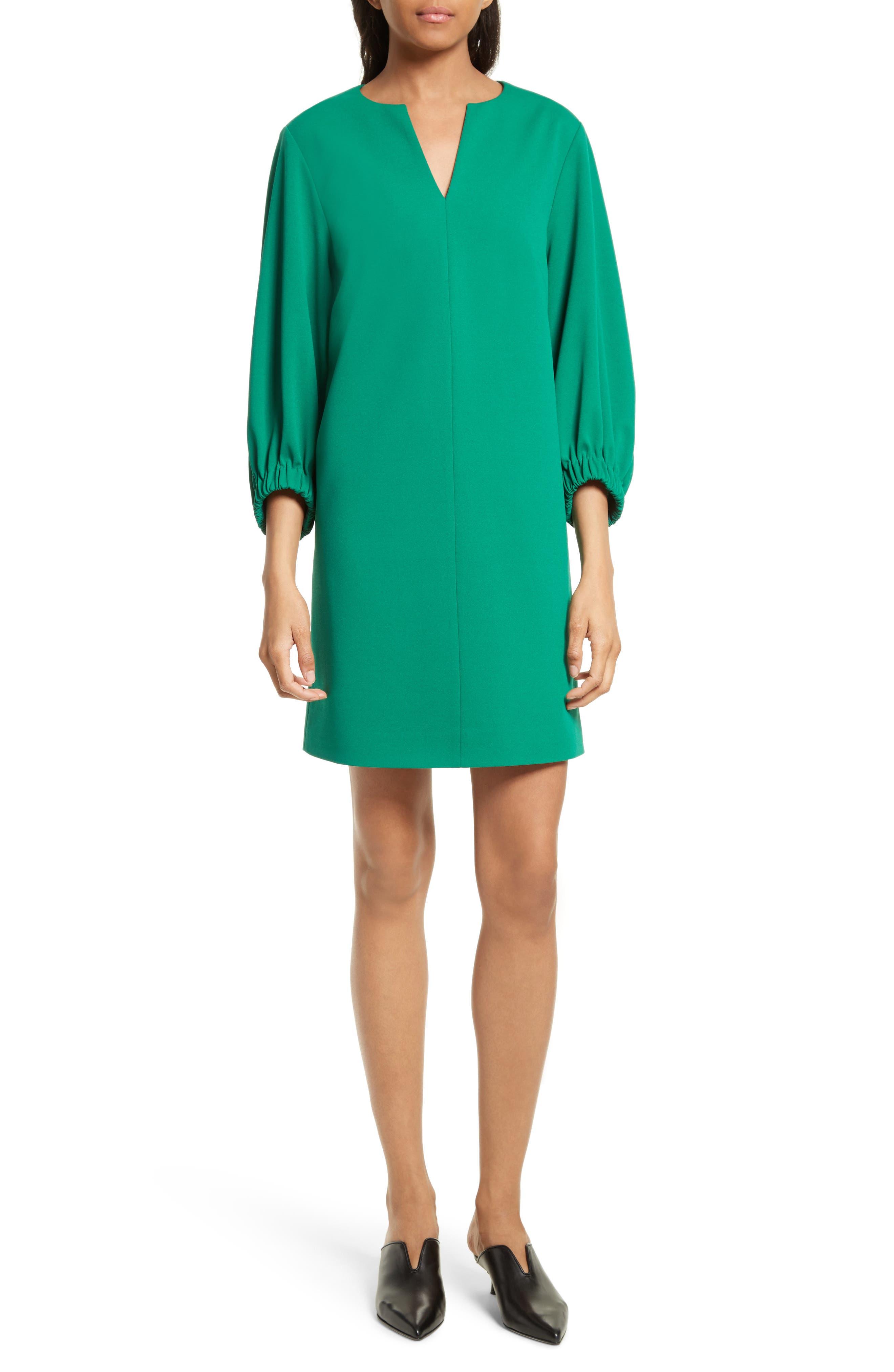 Stretch Crepe Shift Dress,                             Main thumbnail 1, color,                             Midori Green