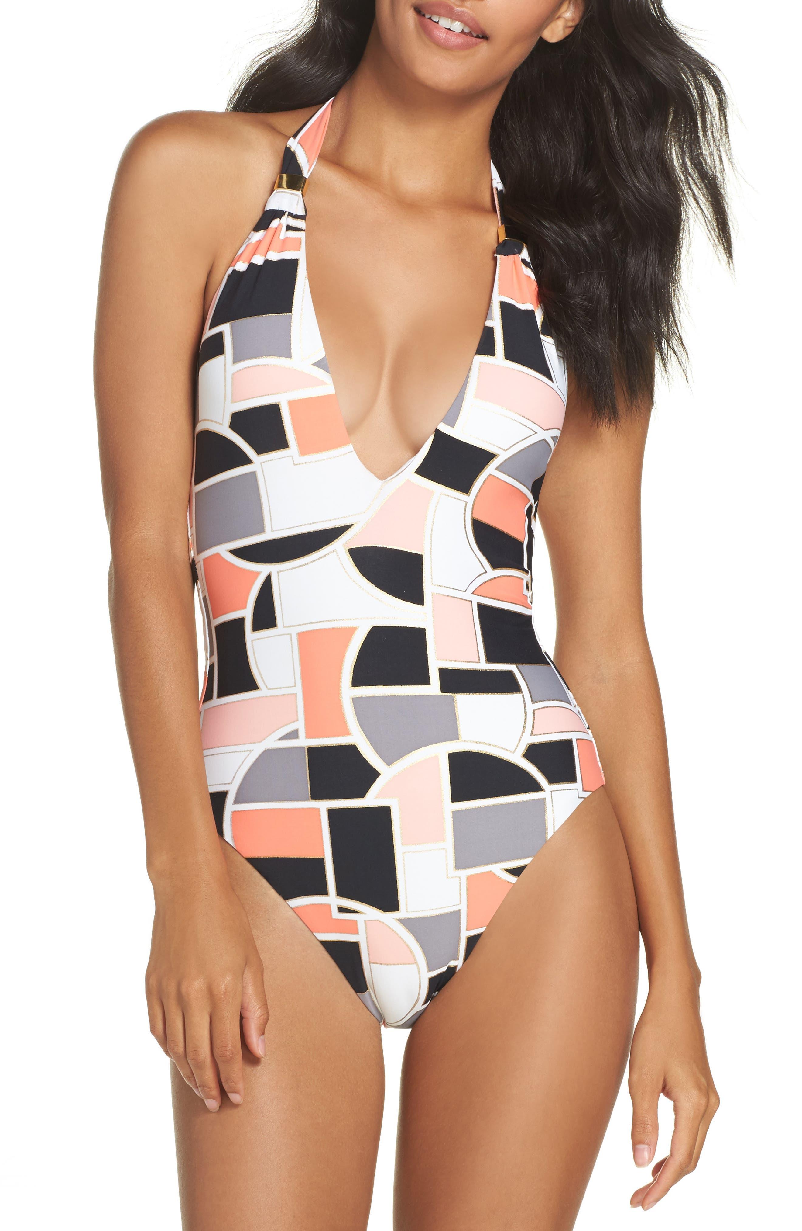 Disco Deco One-Piece Swimsuit,                         Main,                         color, Coral