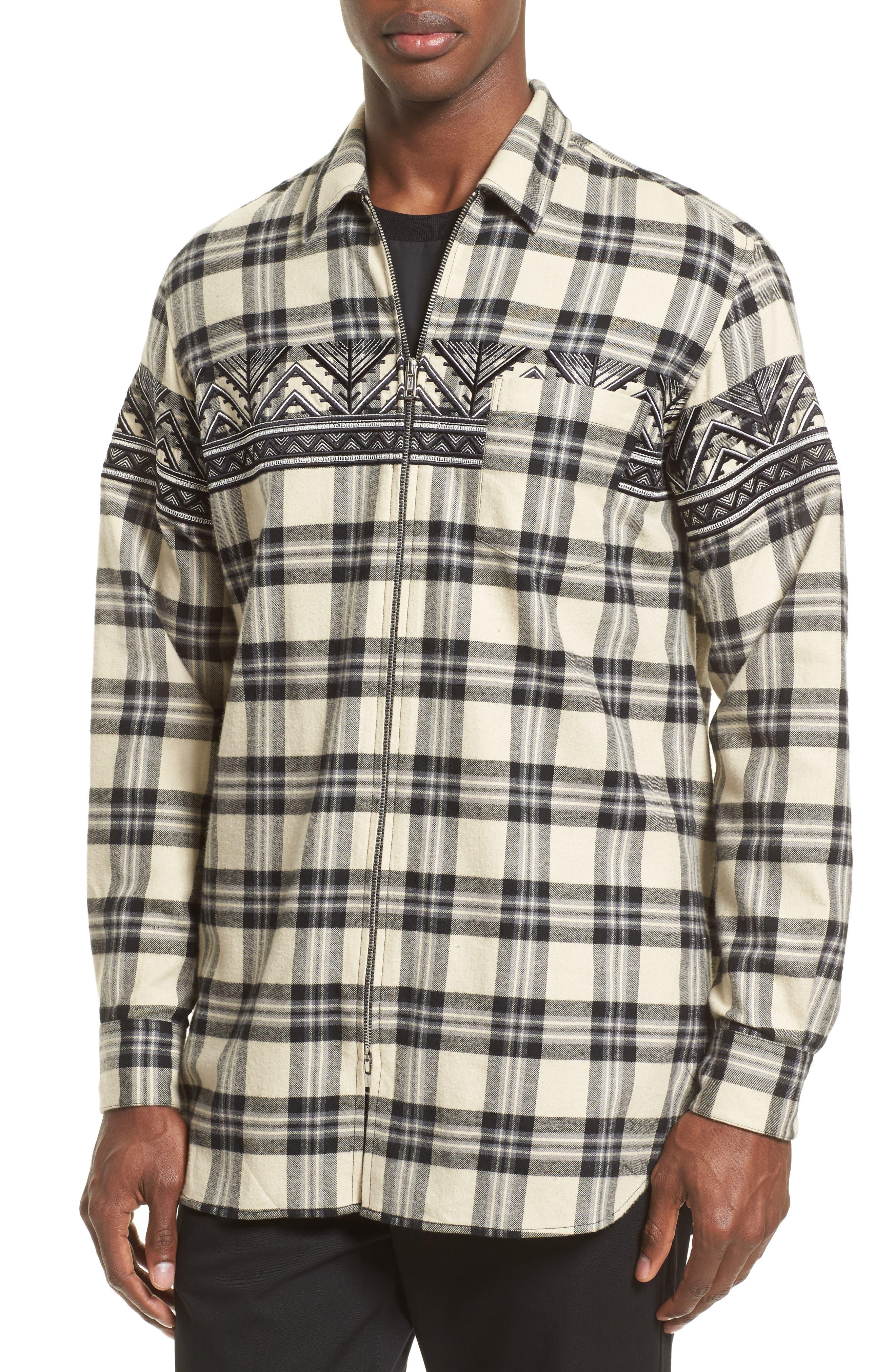 VIP Elongated Zip Flannel Shirt,                             Alternate thumbnail 4, color,                             Alabaster