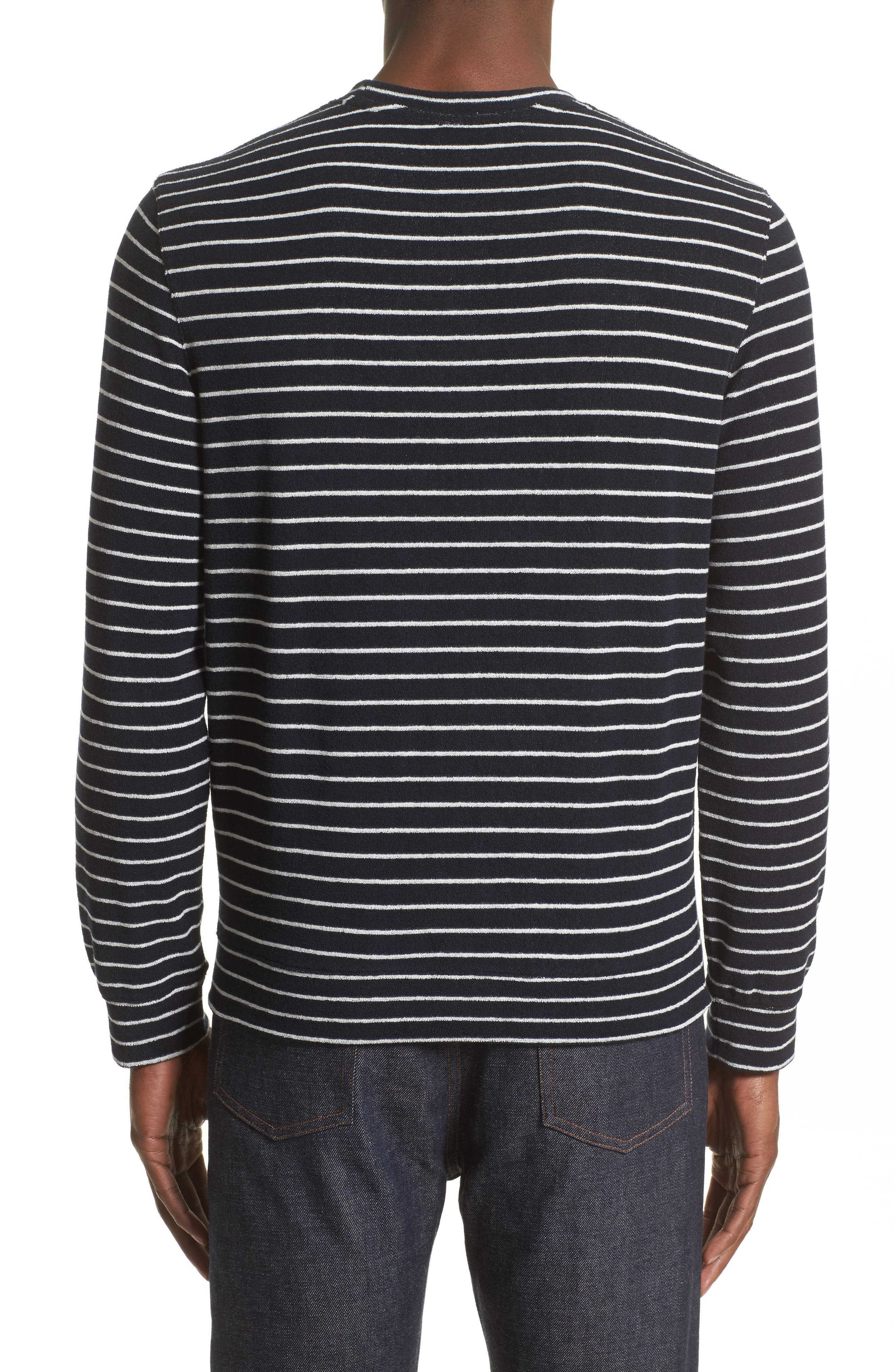 Yogi Striped Terry Sweatshirt,                             Alternate thumbnail 2, color,                             Dark Navy