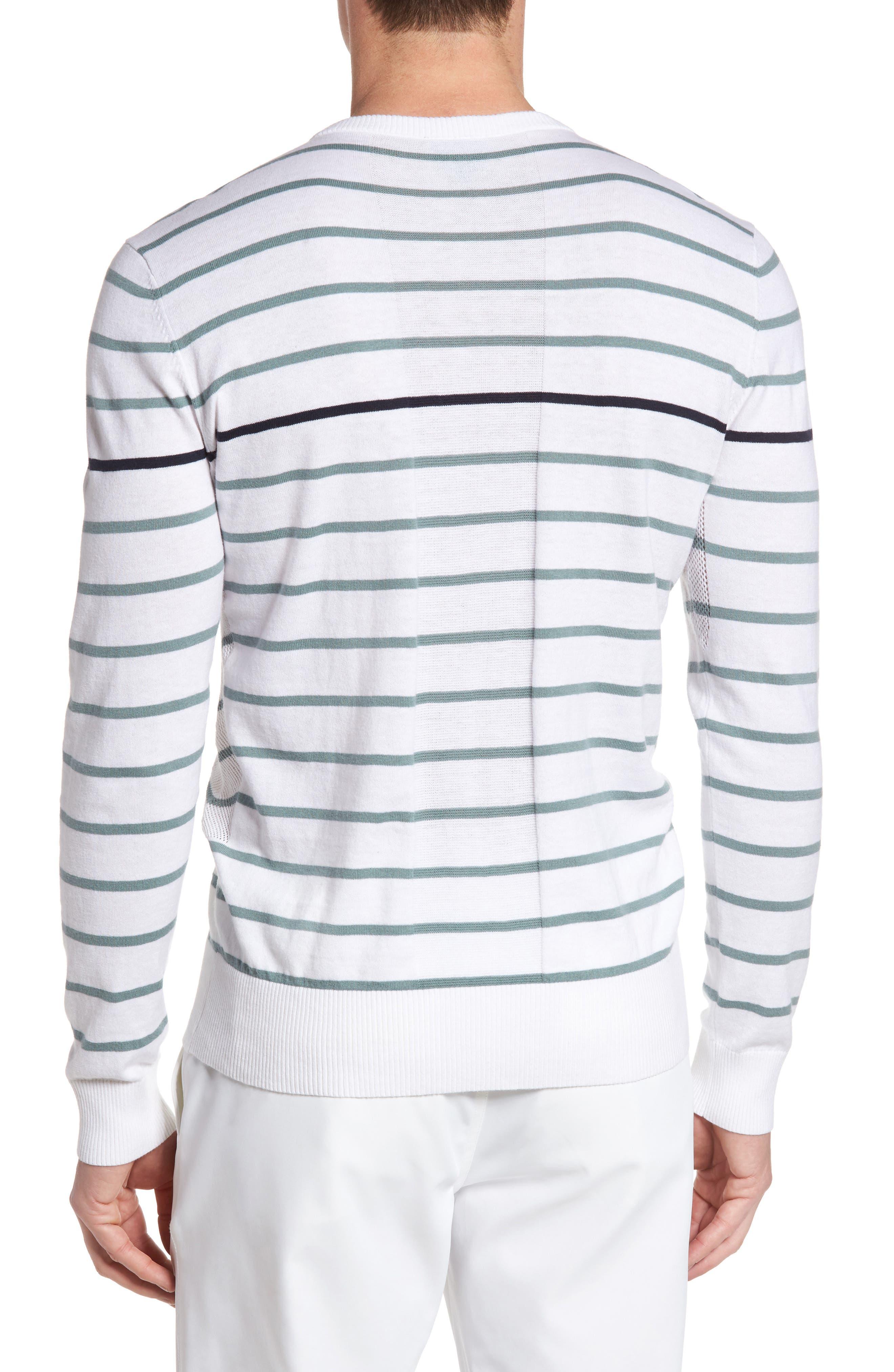 The Farrell Stripe V-Neck Sweater,                             Alternate thumbnail 2, color,                             White/ Agave Green/ Naval Blue