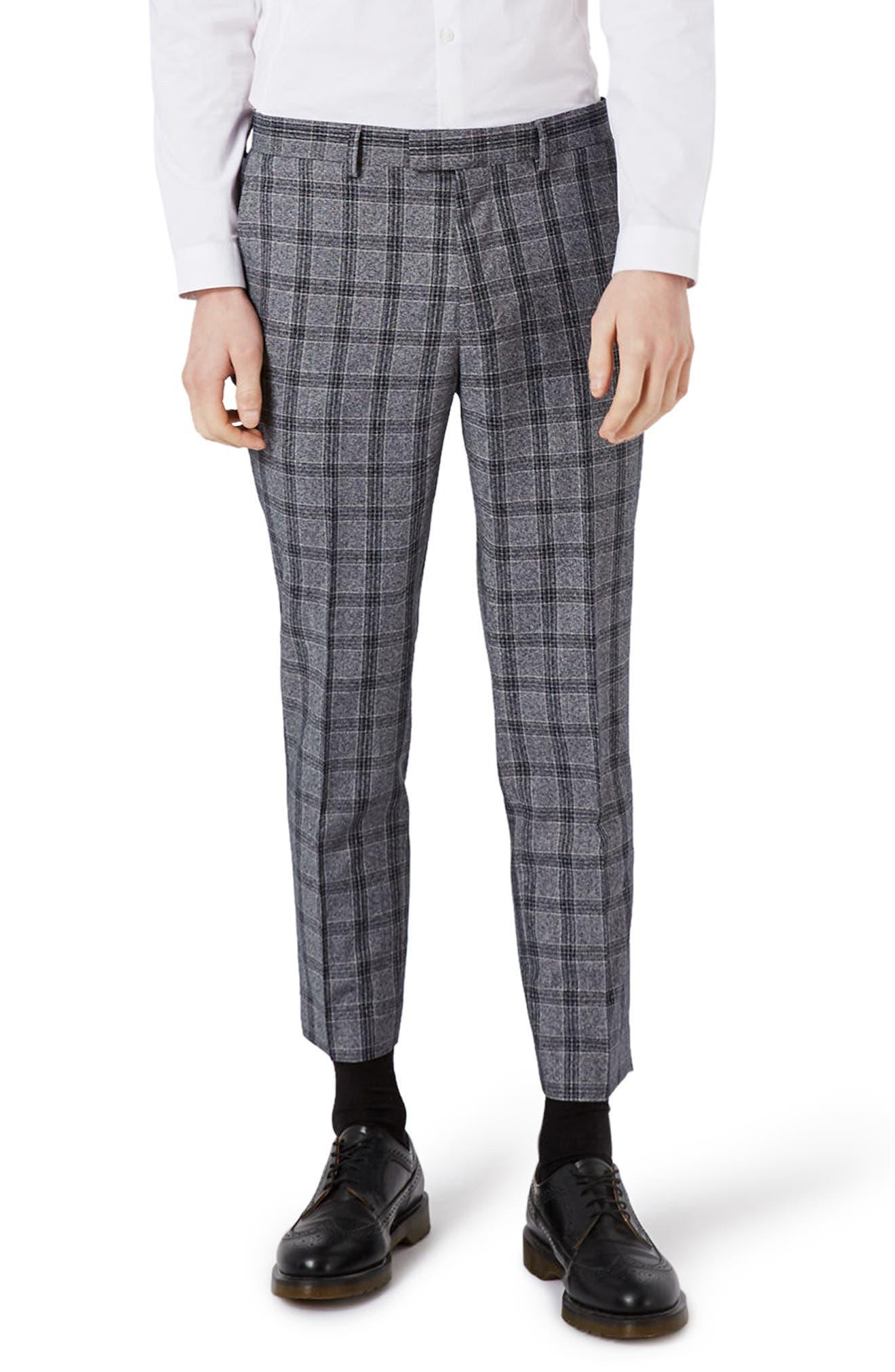 Topman Skinny Fit Plaid Crop Suit Trousers