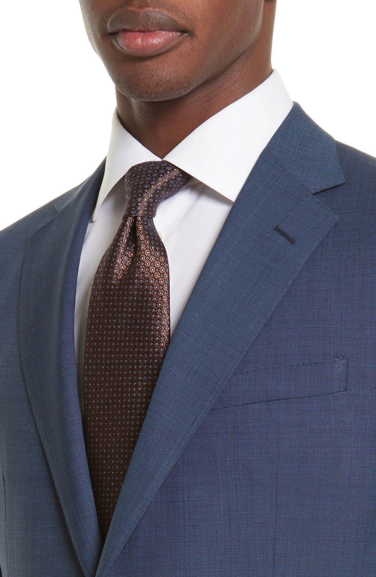 Drop 7 Trim Fit Solid Wool & Silk Suit,                             Alternate thumbnail 4, color,                             Navy