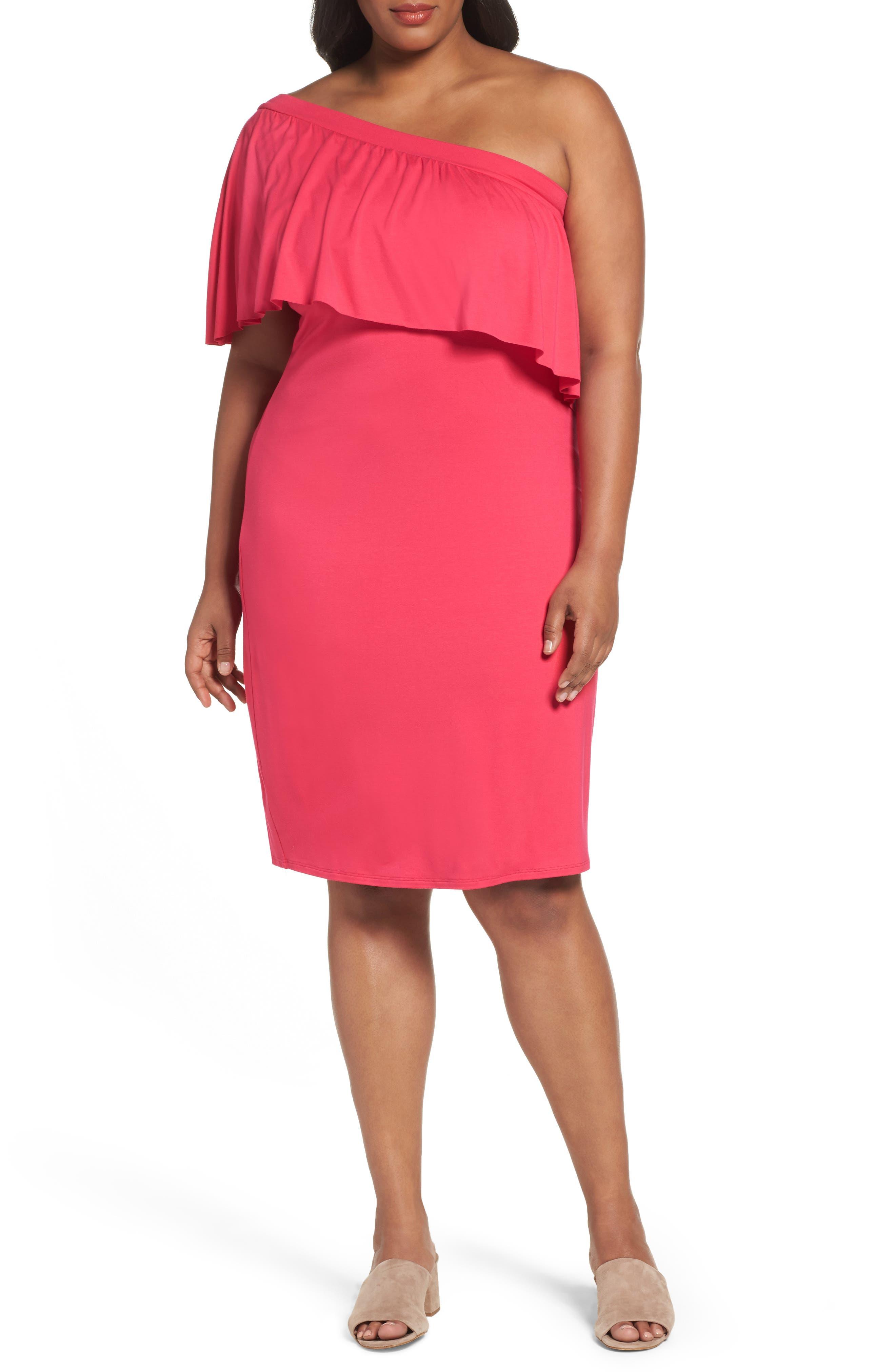 Three Dots Jersey Ruffle One-Shoulder Dress (Plus Size)