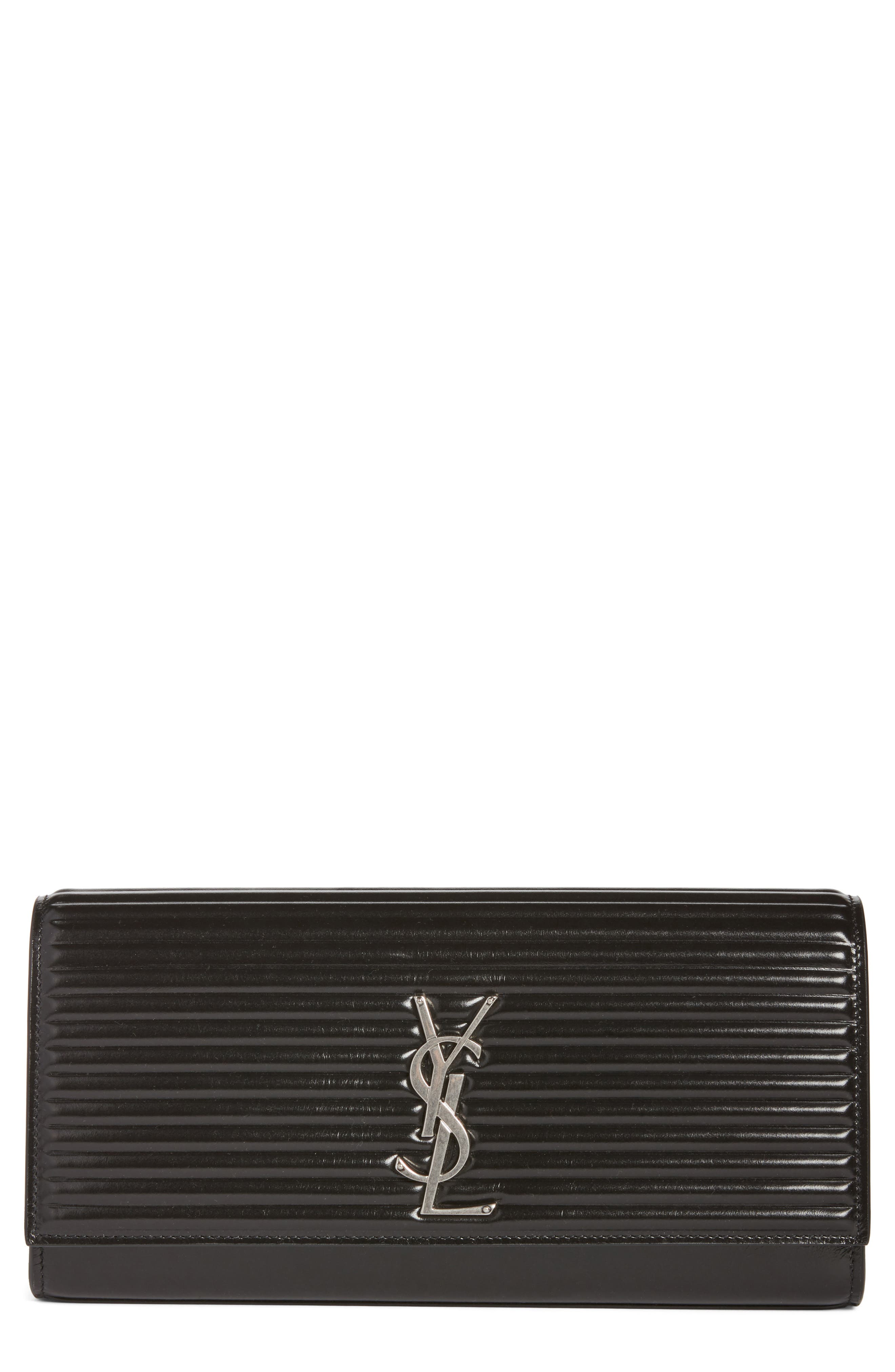 Kate Opium Leather Clutch,                             Main thumbnail 1, color,                             Nero