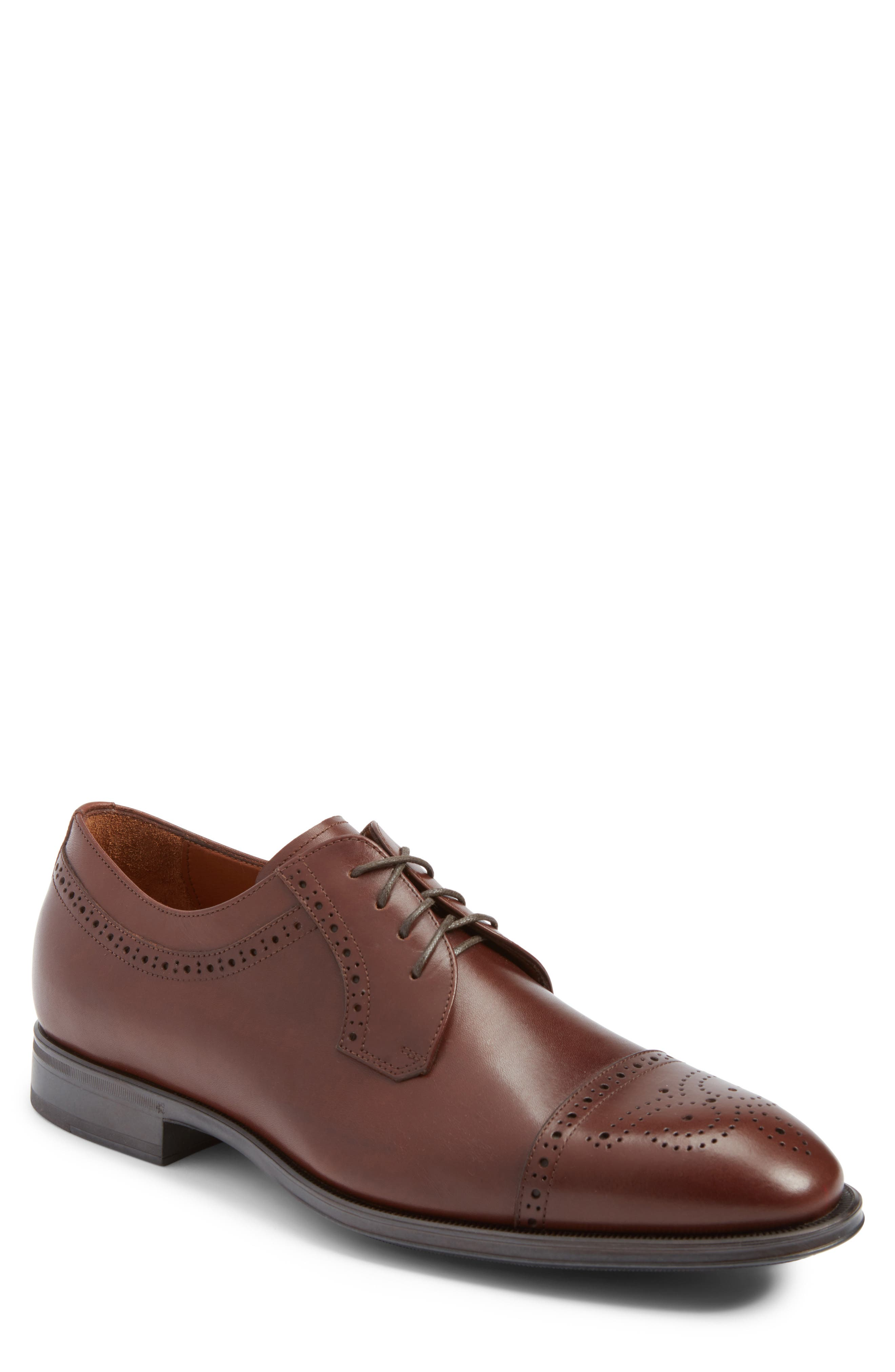 Duke Medallion Toe Derby,                             Main thumbnail 1, color,                             Burnished Cognac Leather