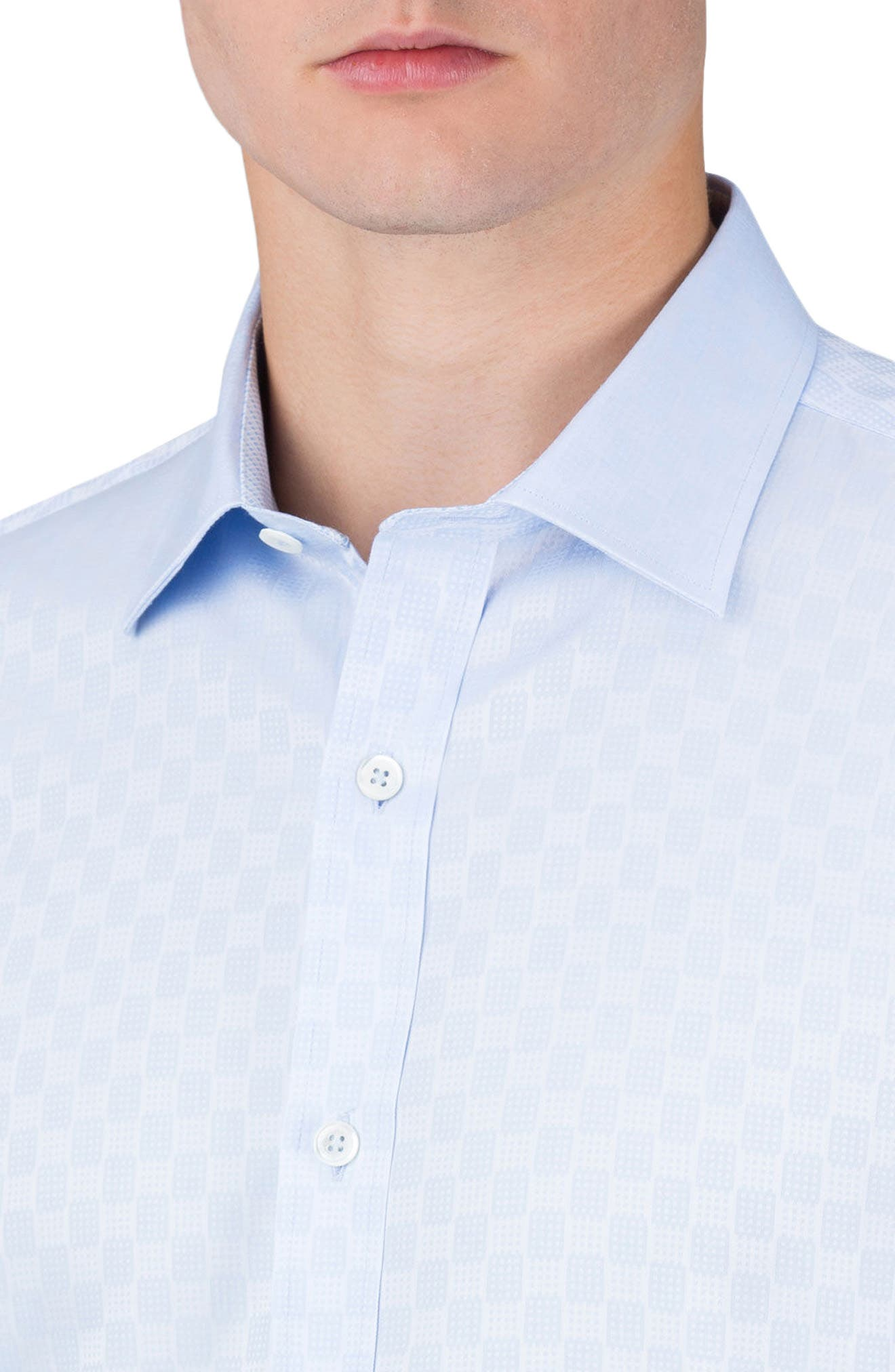 Classic Fit Optic Print Sport Shirt,                             Alternate thumbnail 3, color,                             Sky