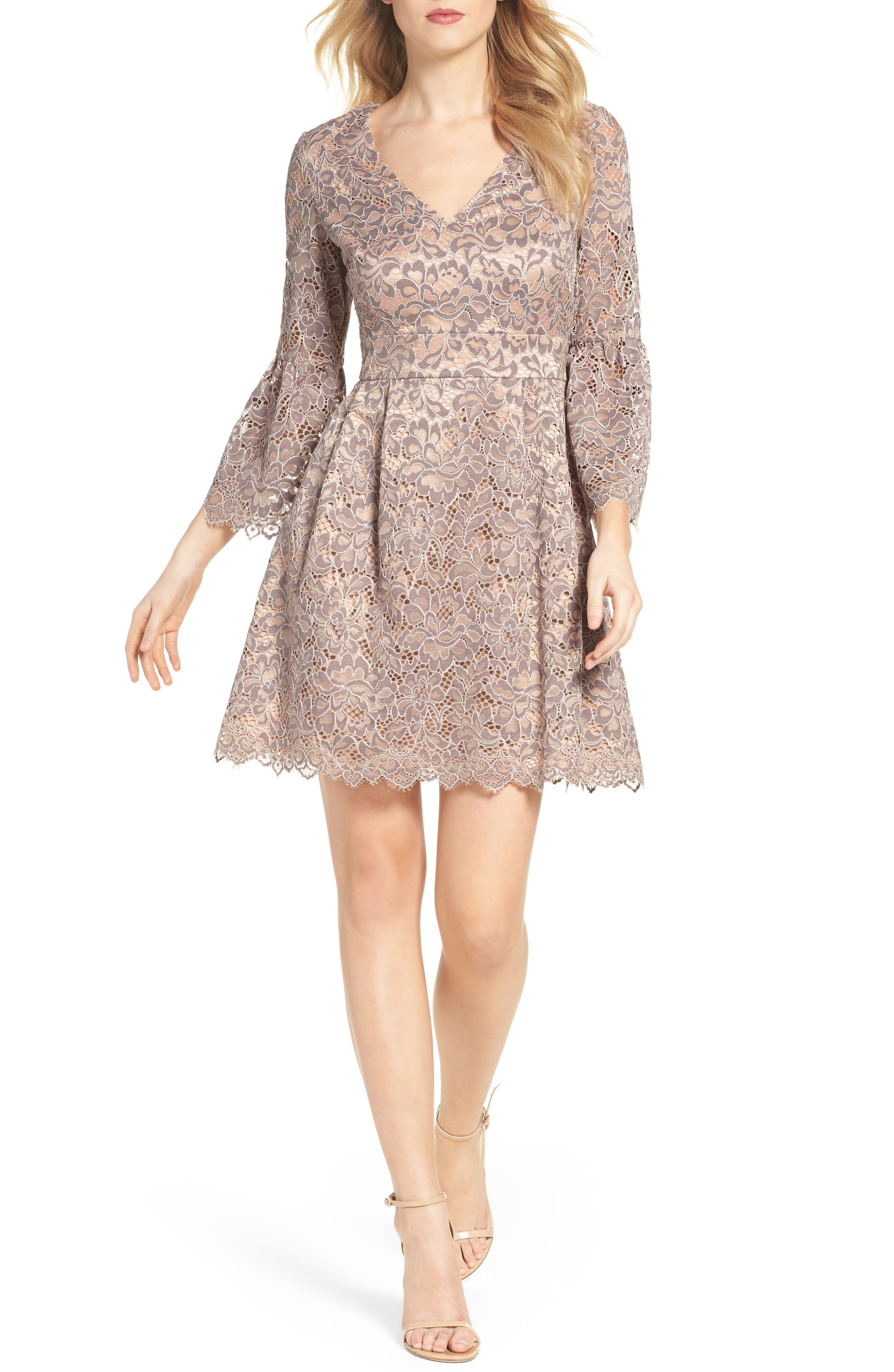 Lace Fit & Flare Dress,                         Main,                         color, Grey