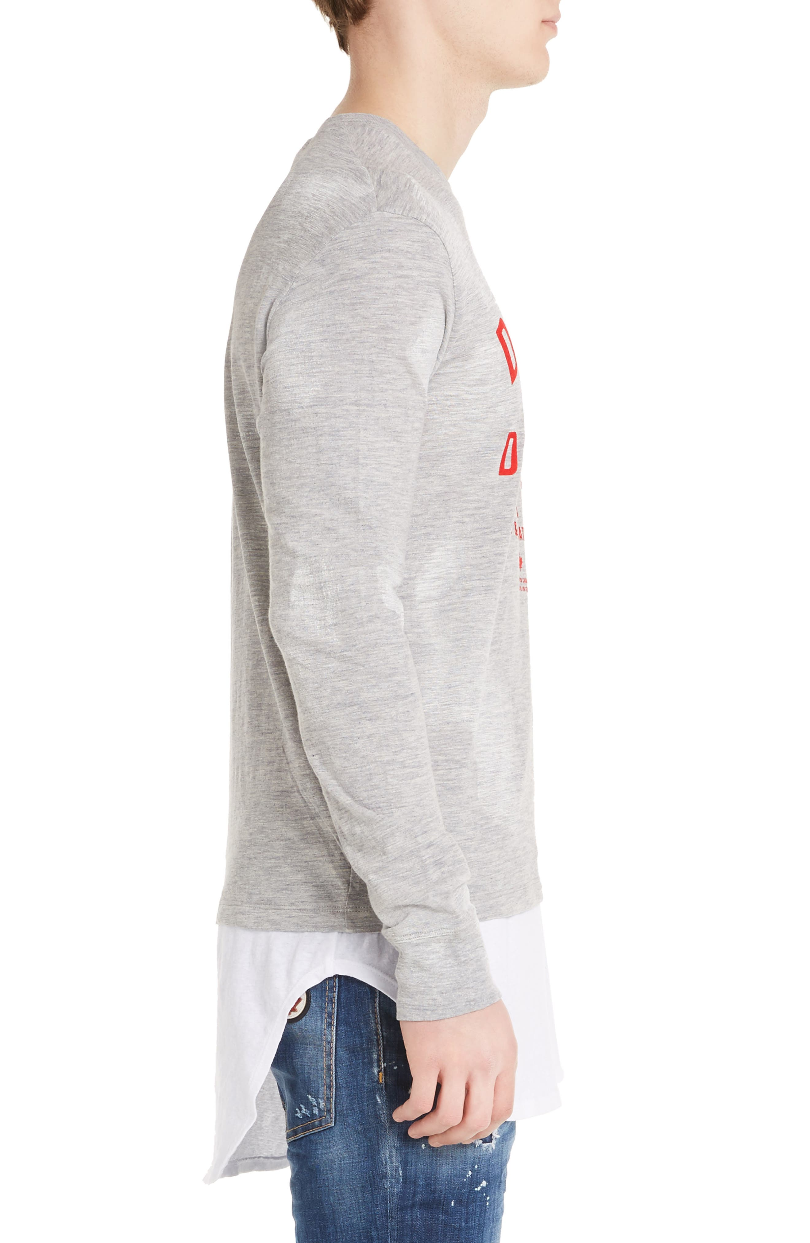 Logo Double Hem T-Shirt,                             Alternate thumbnail 3, color,                             Grey Melange