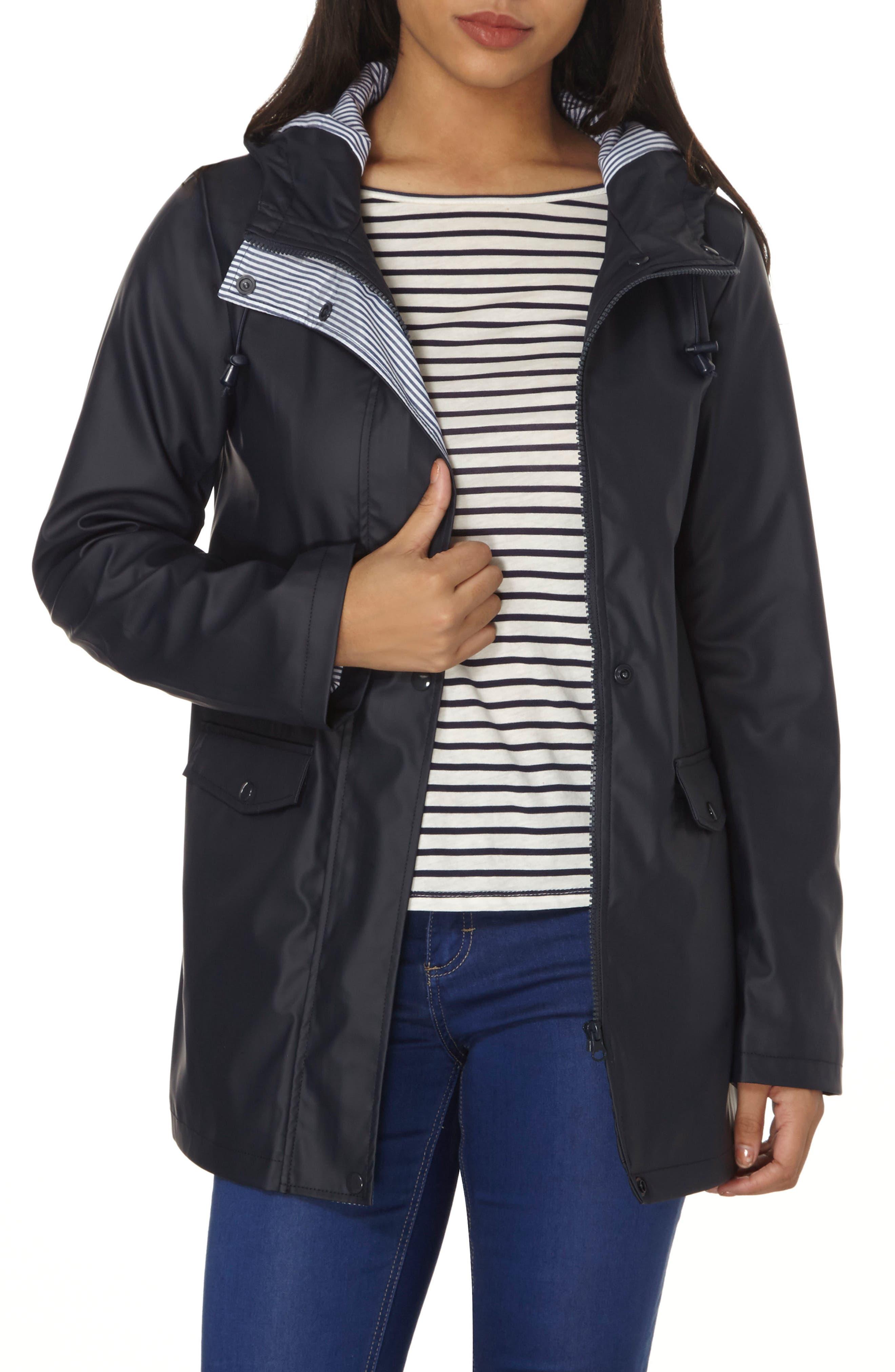 Hooded Rain Jacket,                         Main,                         color, Navy Blue