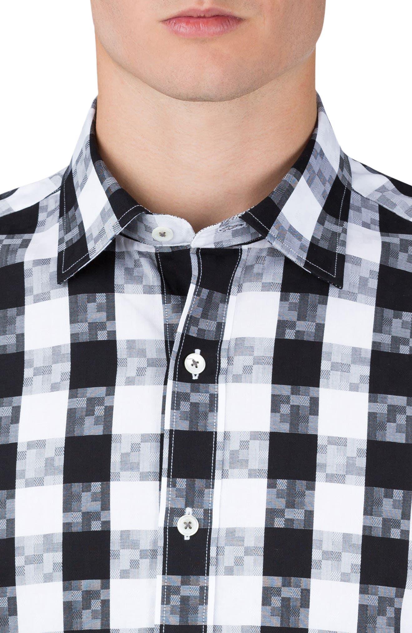 Classic Fit Gingham Sport Shirt,                             Alternate thumbnail 3, color,                             Black