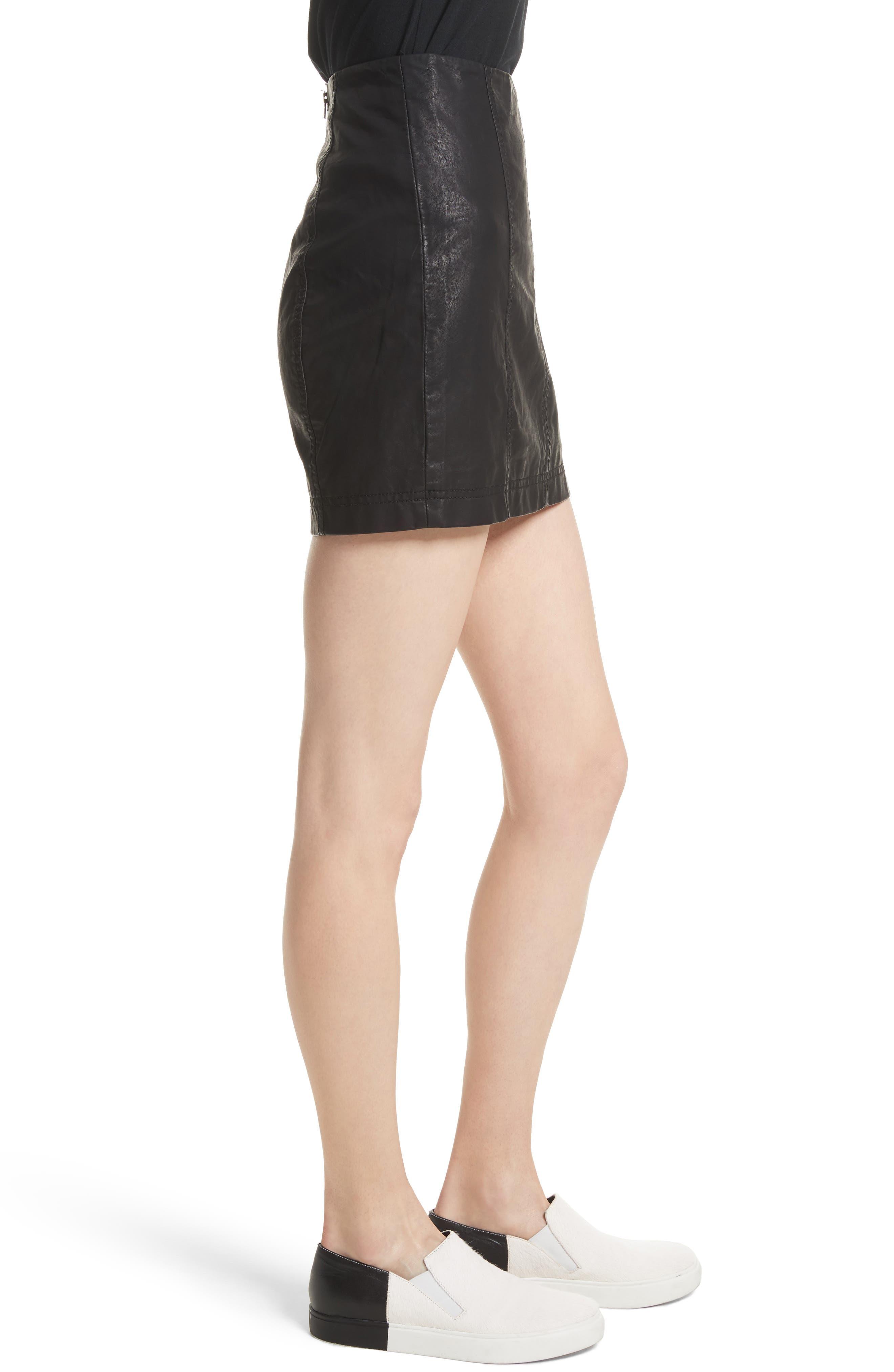 Modern Femme Faux Leather Miniskirt,                             Alternate thumbnail 3, color,                             Black