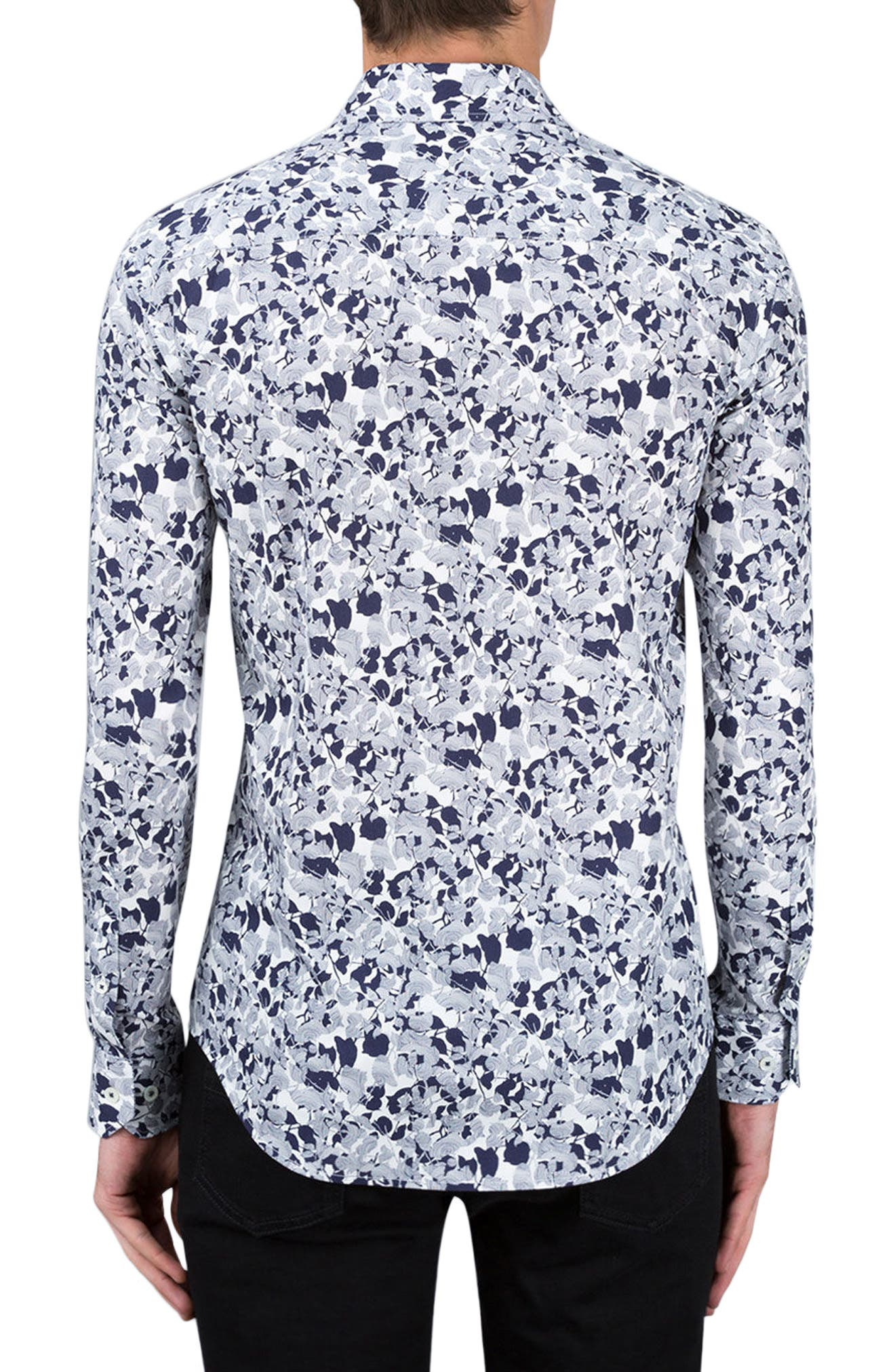 Shaped Fit Print Sport Shirt,                             Alternate thumbnail 2, color,                             Navy